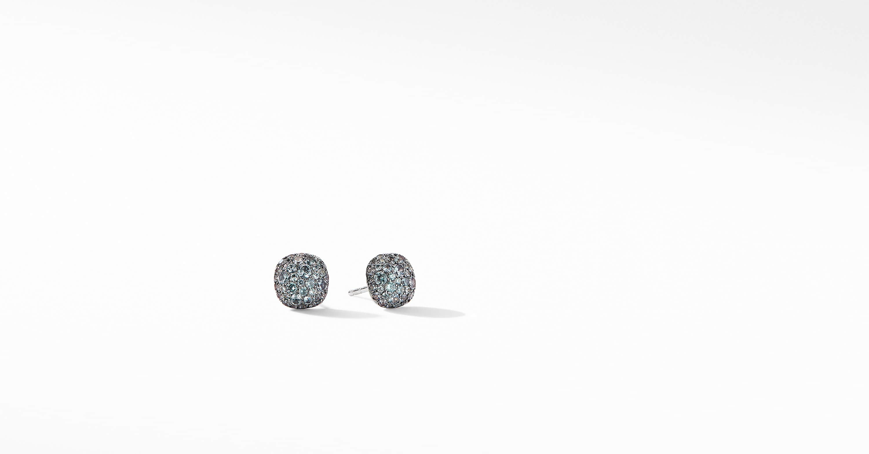 Cushion Stud Earrings in 18K White Gold