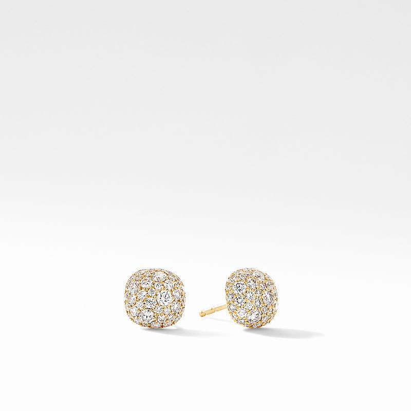 Small Cushion Stud Earrings in 18K Yellow Gold with Pavé