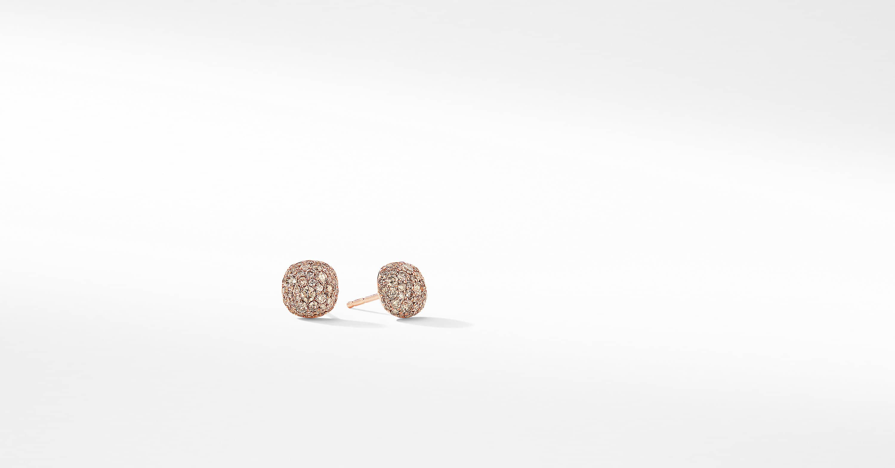 Small Cushion Stud Earrings in 18K Rose Gold with Pavé