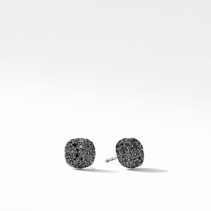 Small Cushion Stud Earrings in 18K White Gold with Pavé