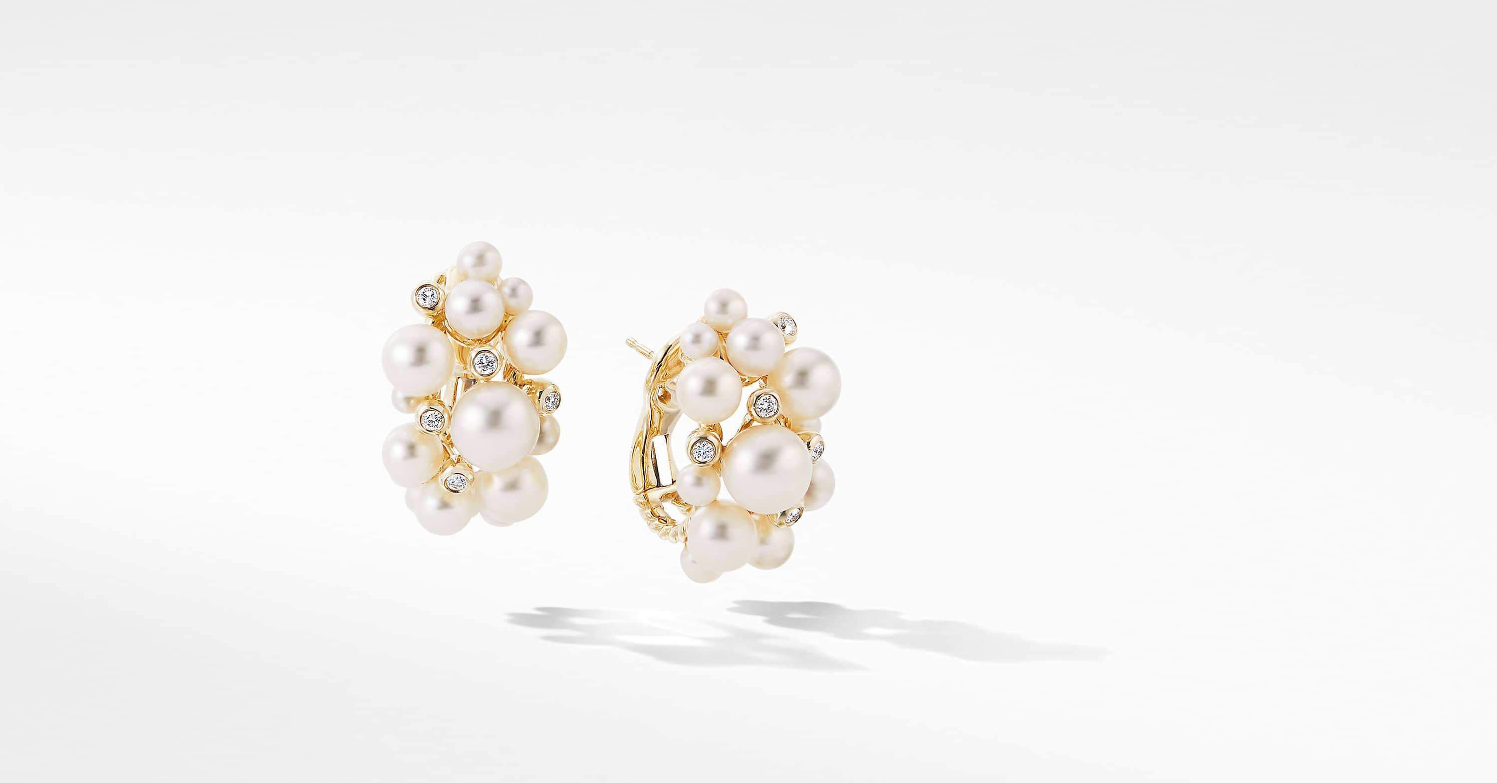 Large Pearl Cluster Hoop Earrings in 18K Yellow Gold with Diamonds