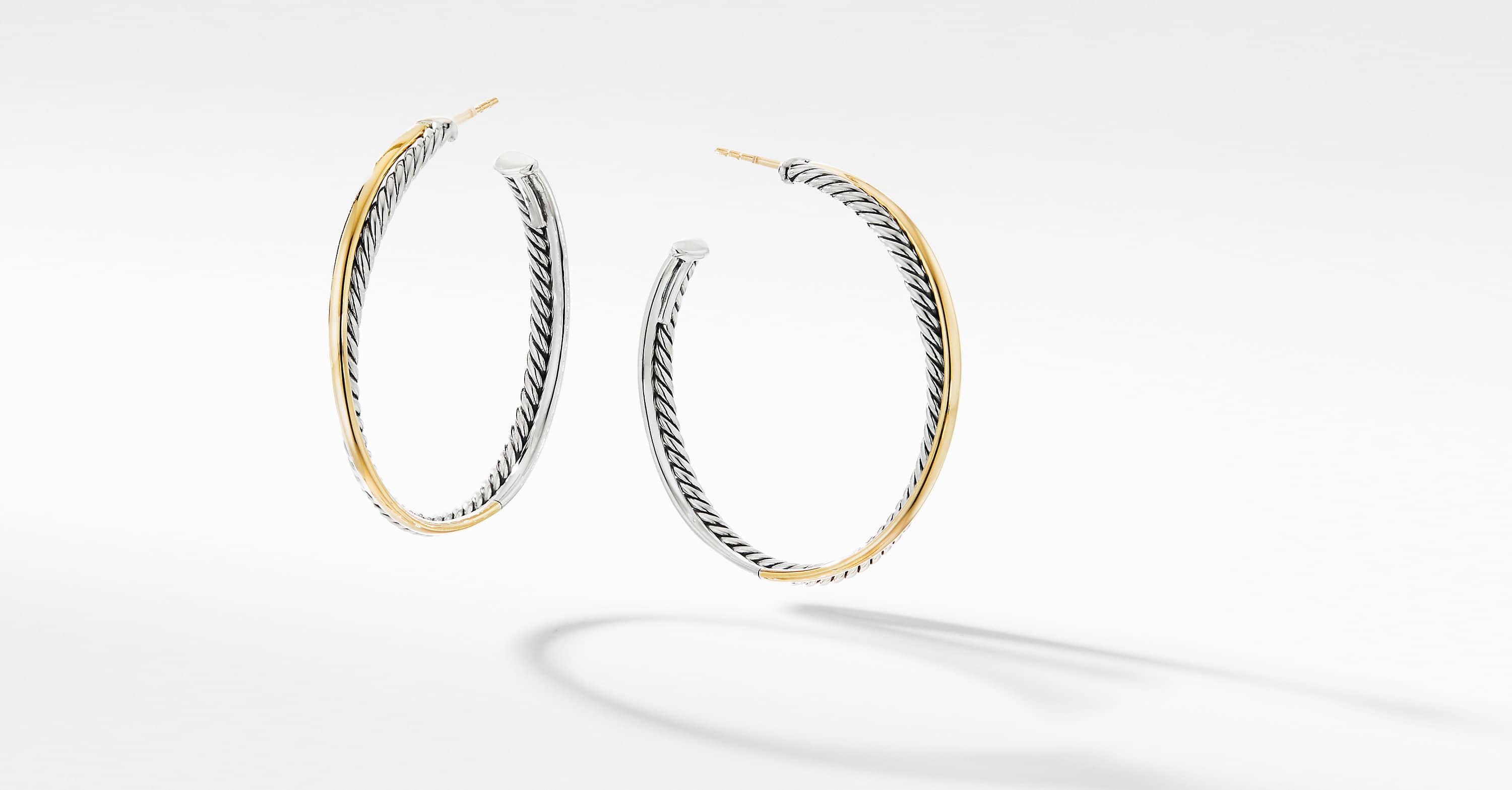 The Crossover Collection XL Hoop Earrings with 18K Yellow Gold
