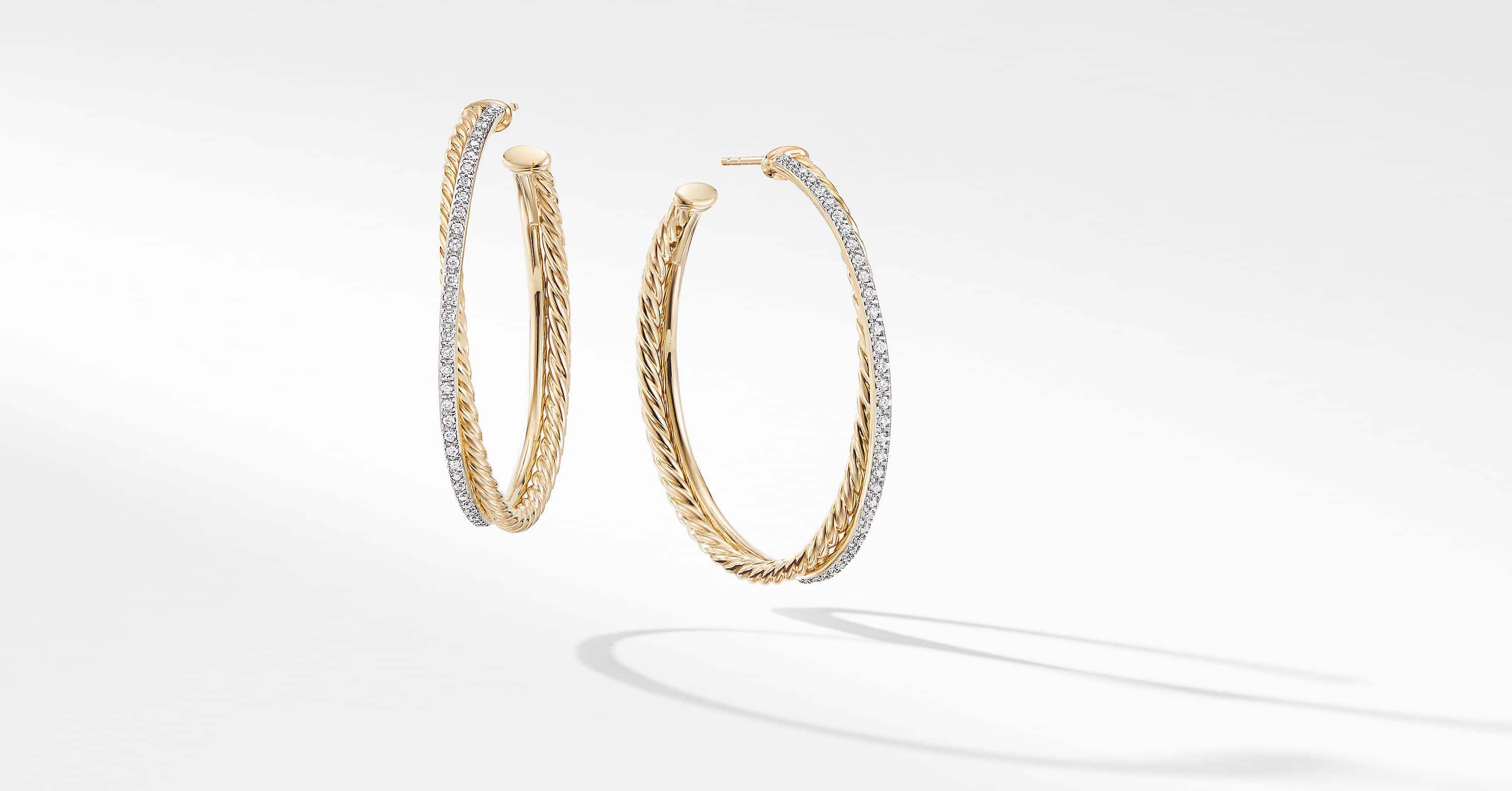 The Crossover Collection XL Hoop Earrings in 18K Yellow Gold with Diamonds