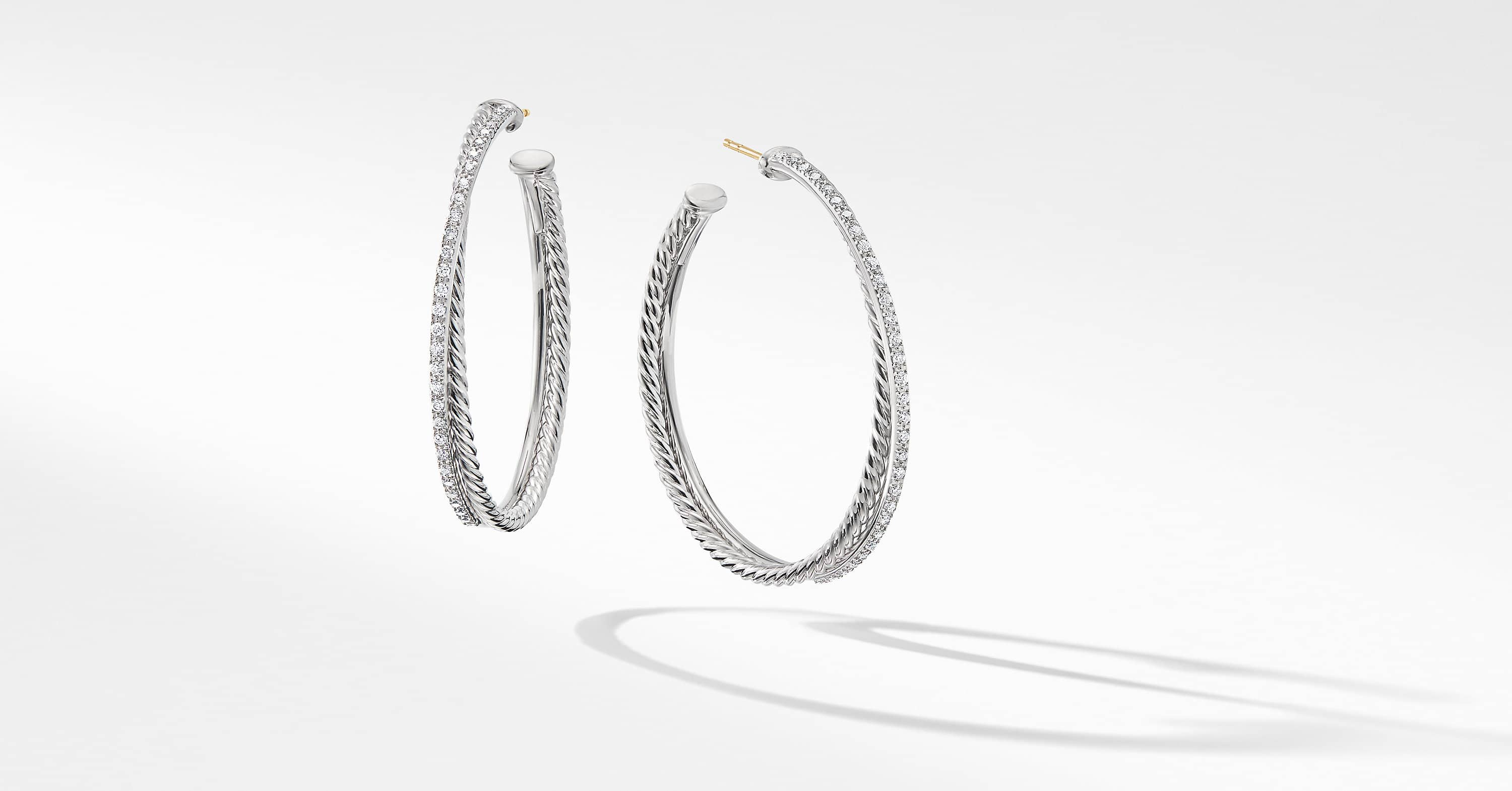 Crossover Xl Hoop Earrings With Diamonds David Yurman
