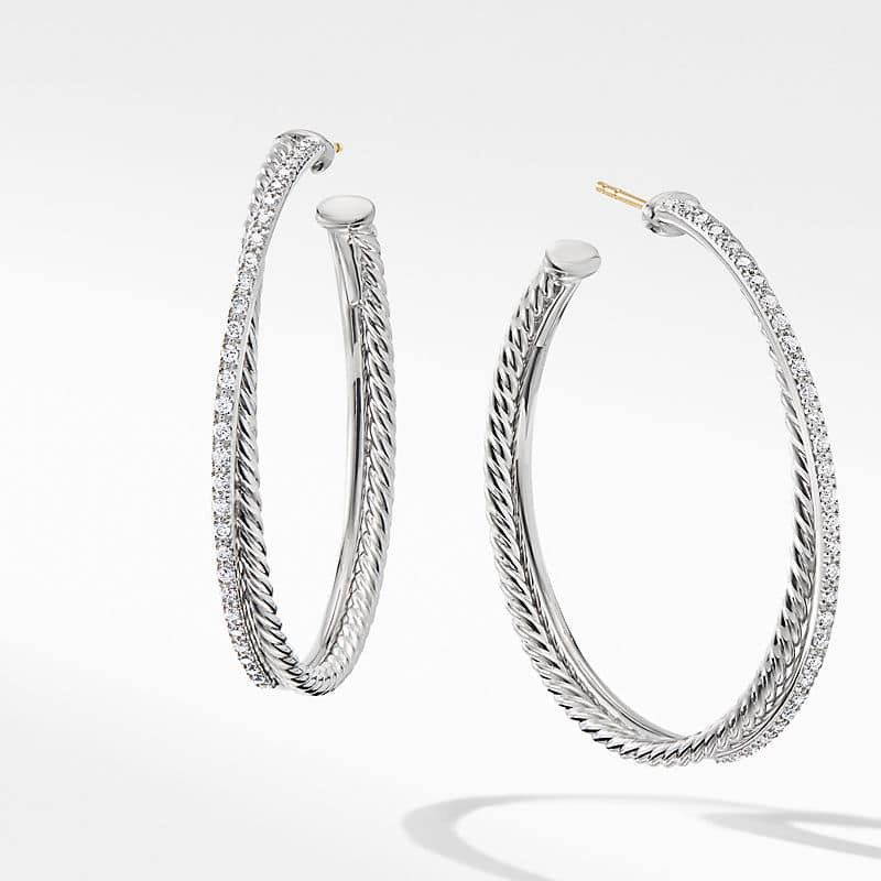 The Crossover Collection XL Hoop Earrings with Diamonds