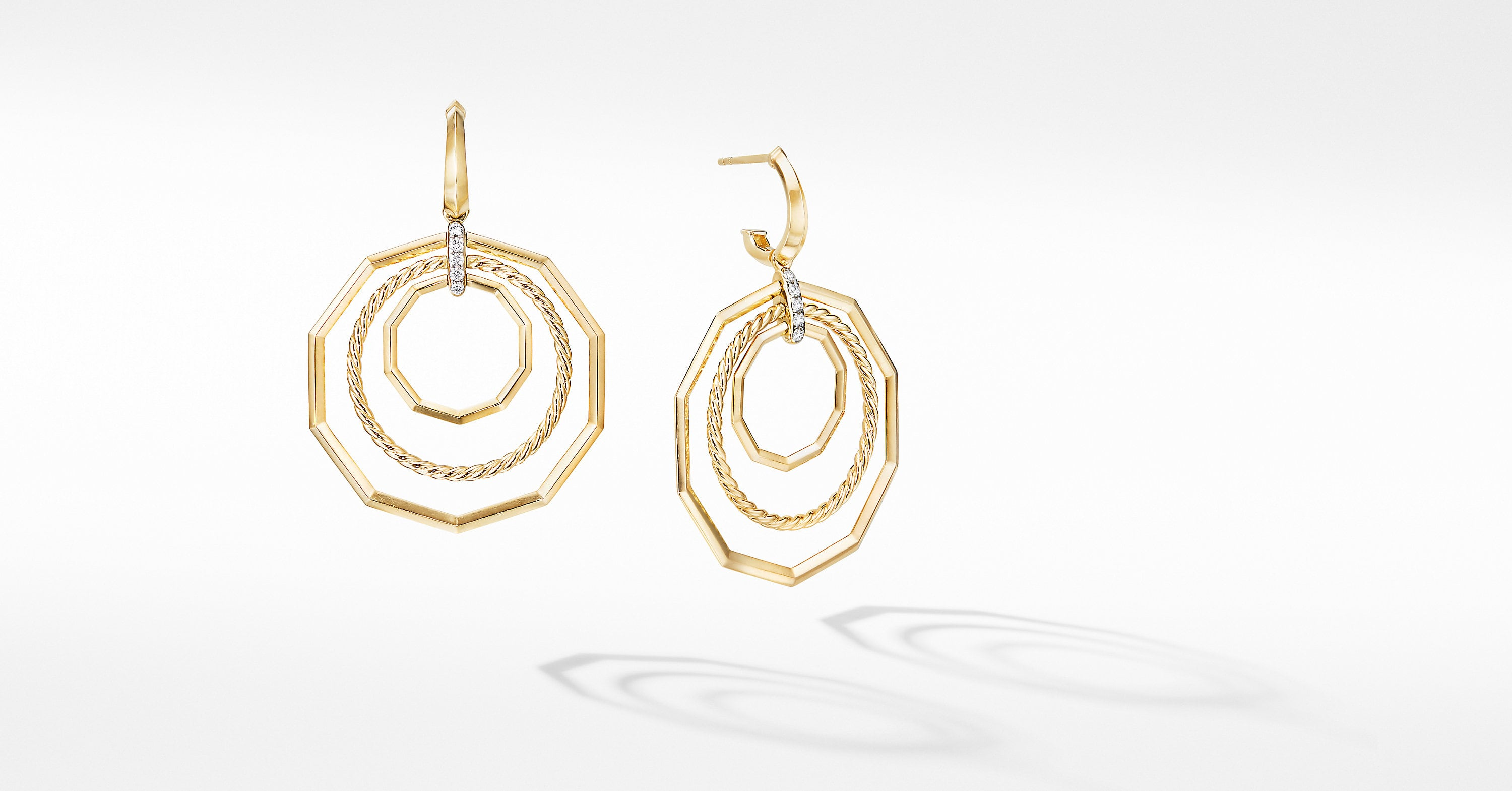 Stax Extra-Large Drop Earrings in 18K Yellow Gold with Diamonds