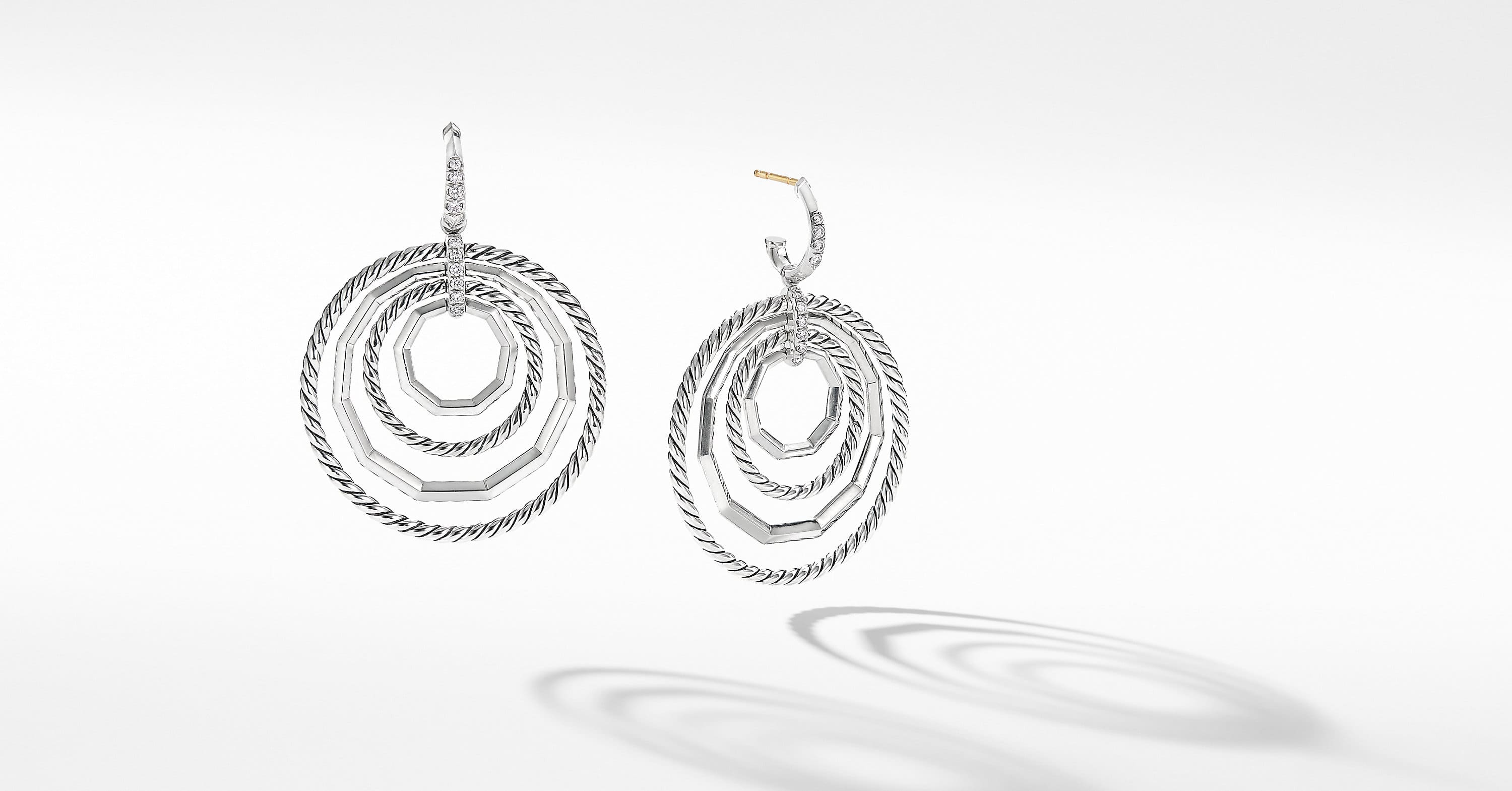 Stax Large Drop Earrings with Diamonds