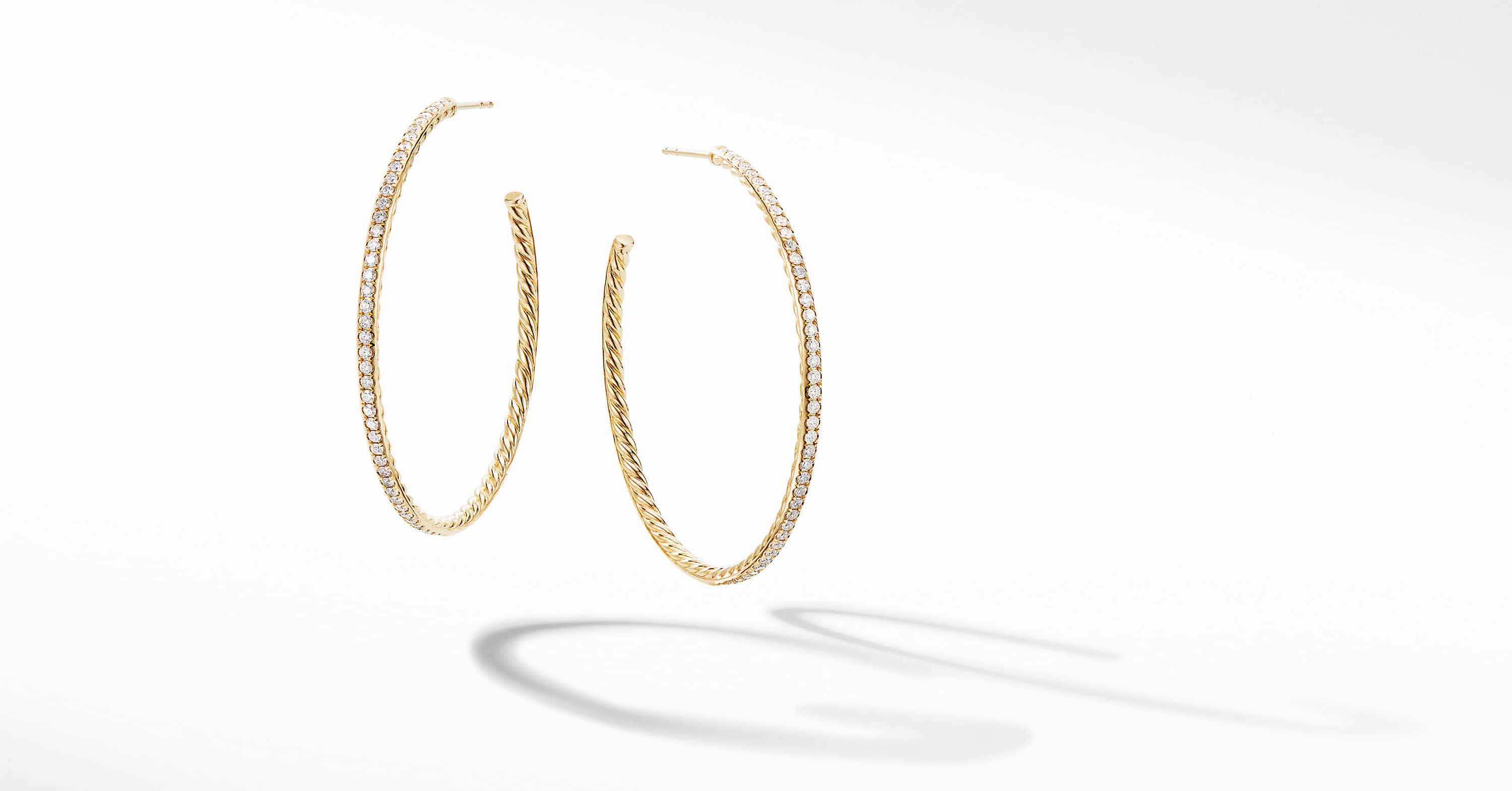 Large Hoop Earrings in 18K Yellow Gold with Pavé