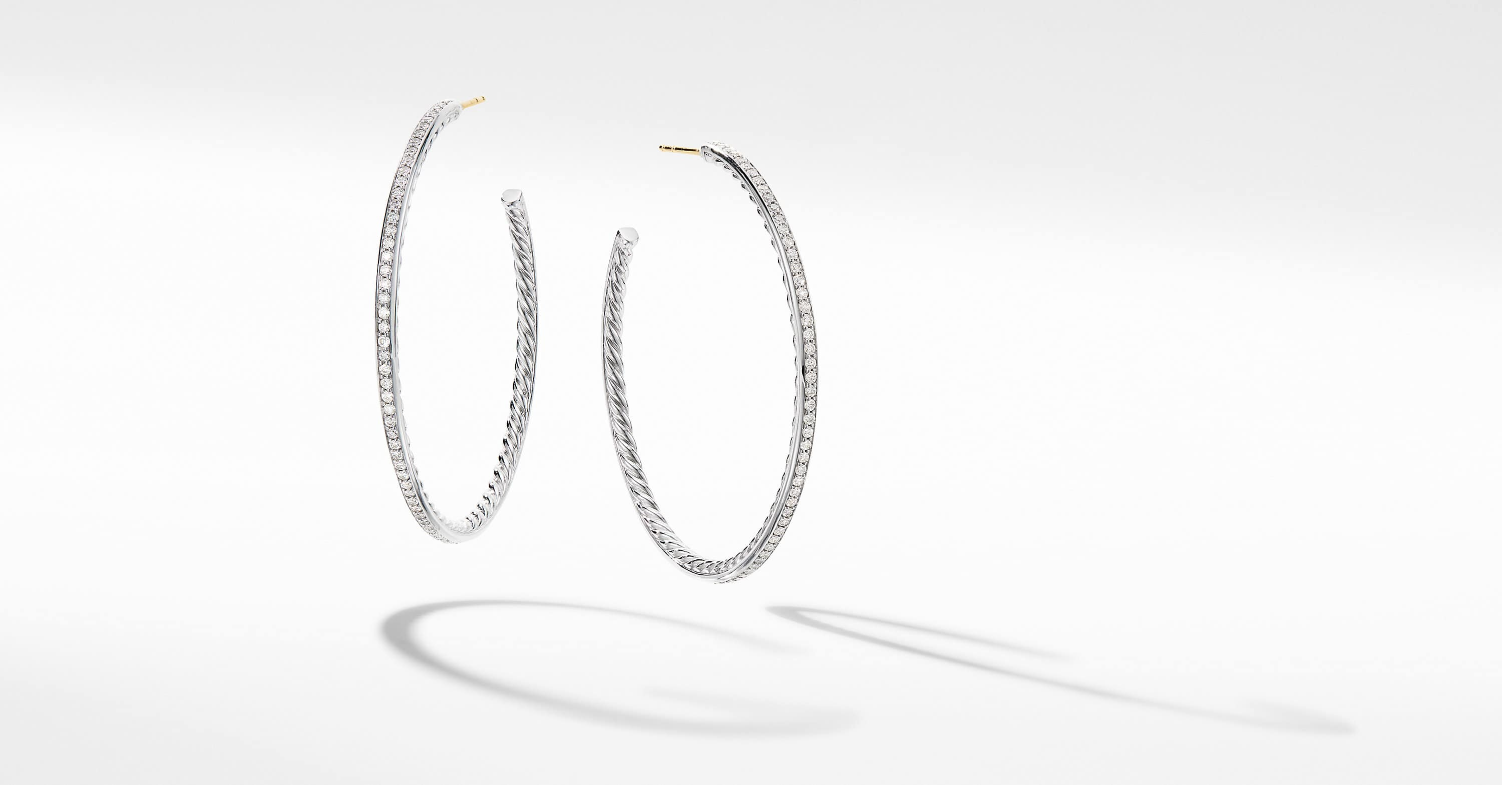 Large Hoop Earrings with Pavé