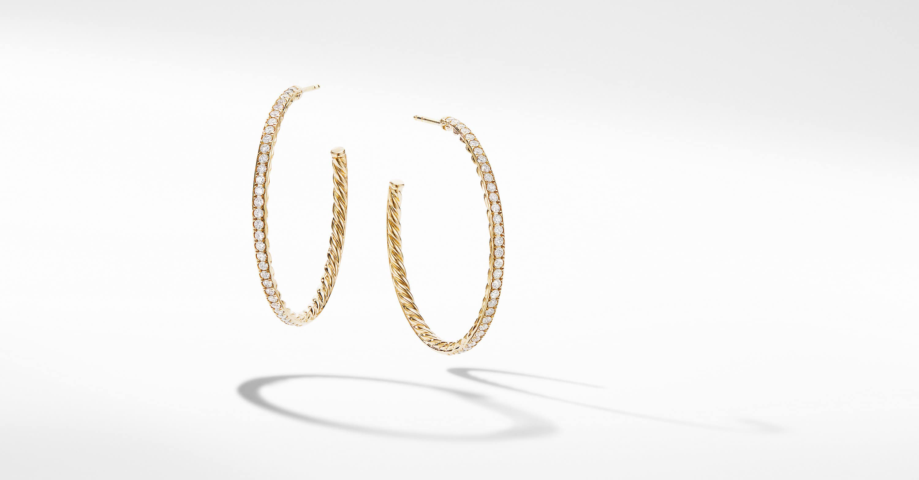 Medium Hoop Earrings in 18K Yellow Gold with Pavé