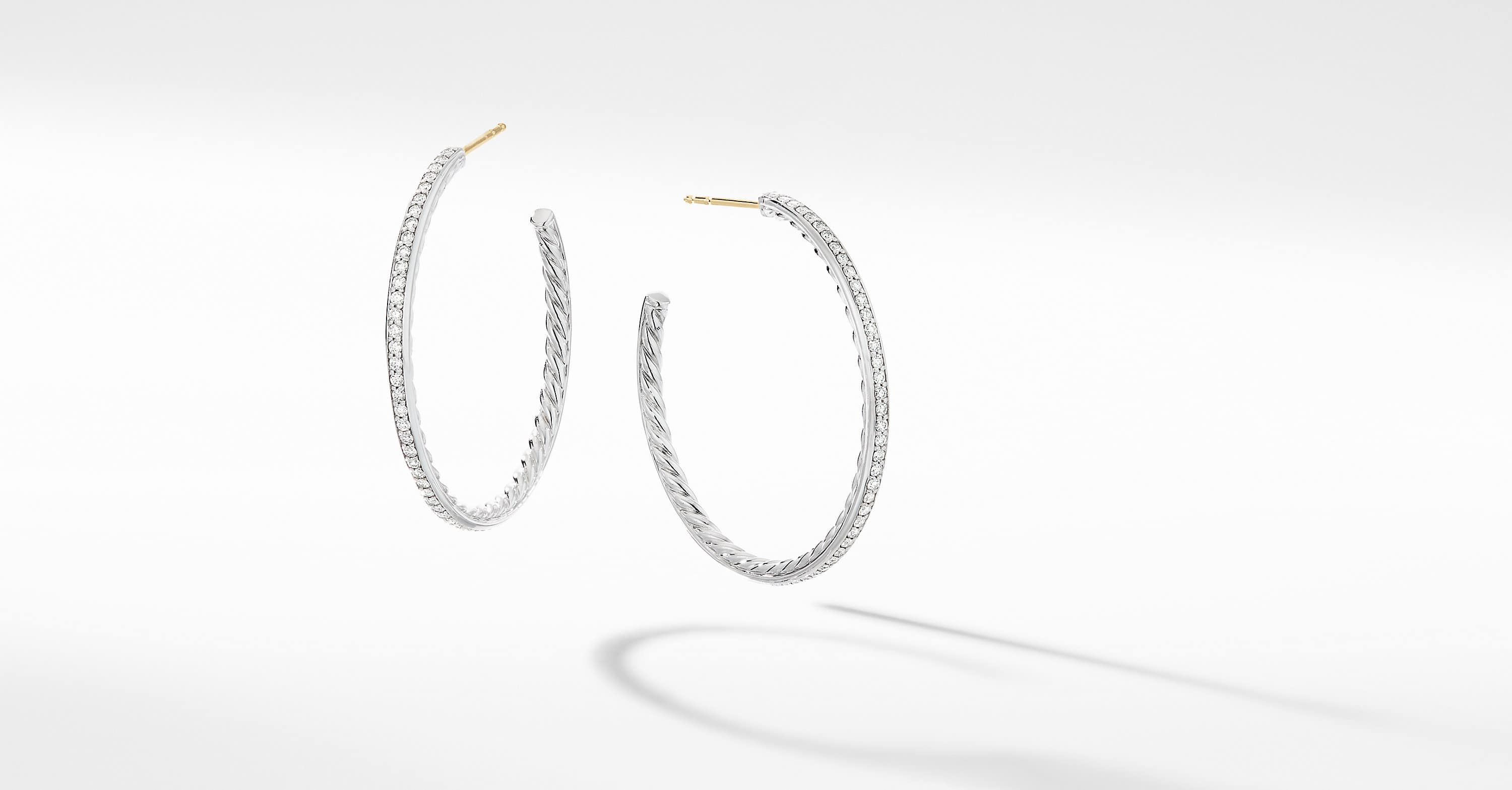 Medium Hoop Earrings with Pavé