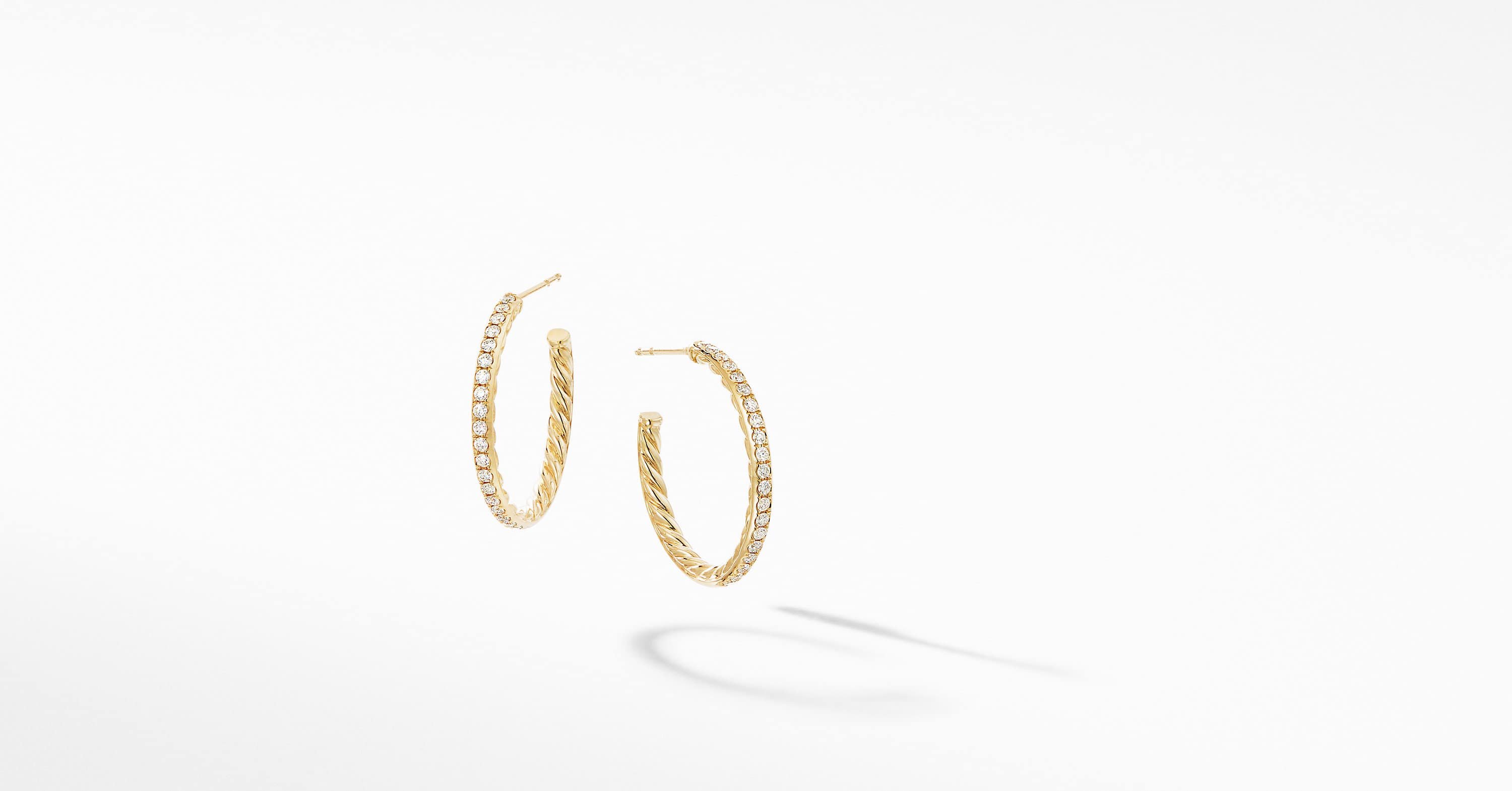 Small Hoop Earrings in 18K Yellow Gold with Pavé