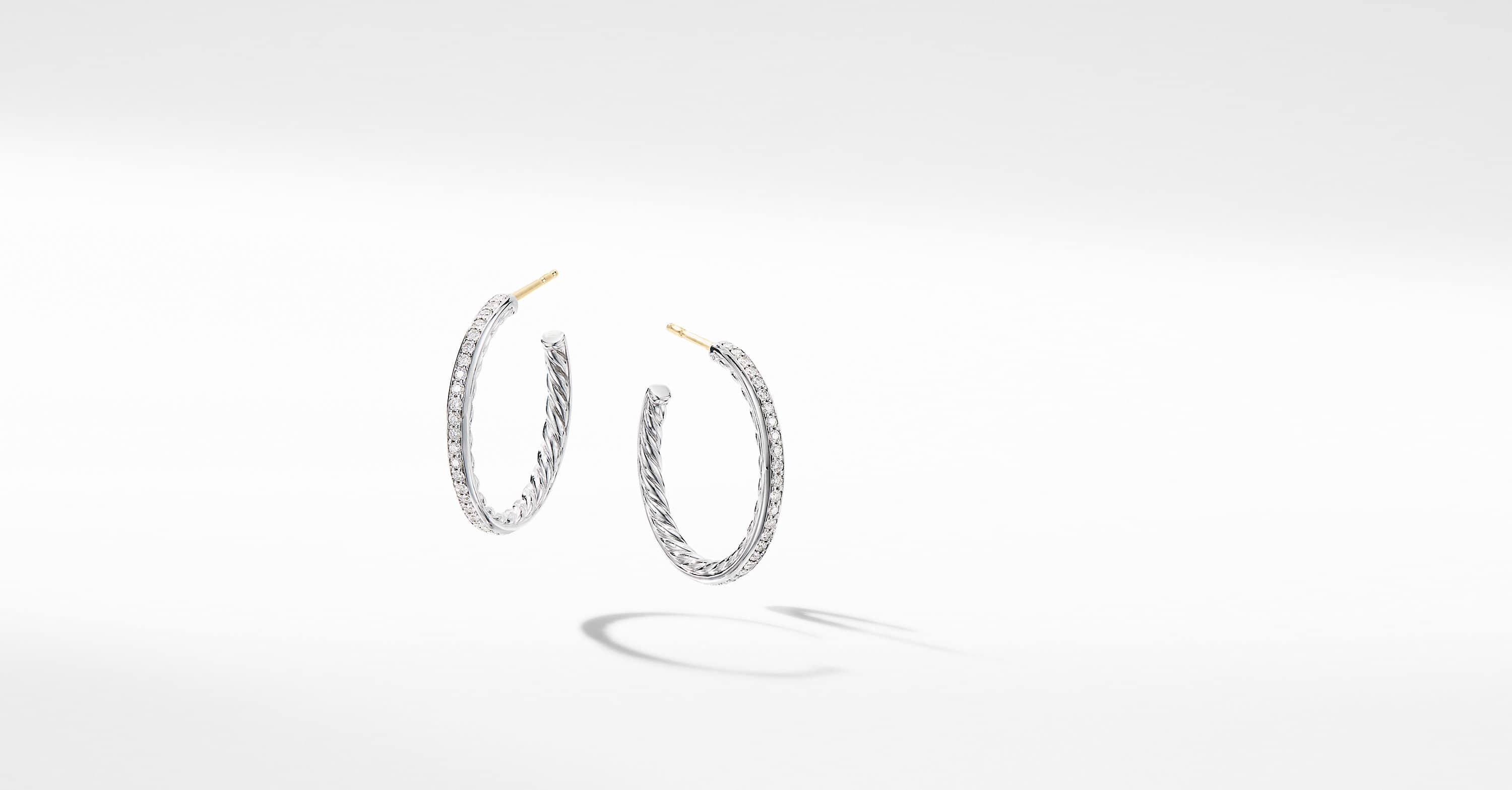 Small Hoop Earrings with Pavé