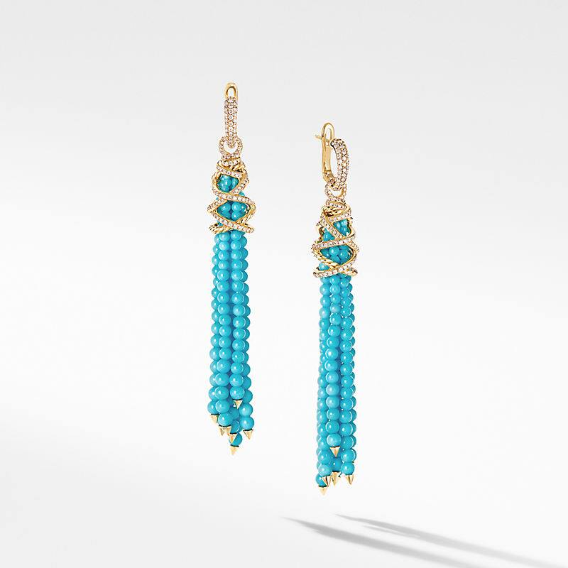 Helena Tassel Earrings with 18K Yellow Gold and Diamonds