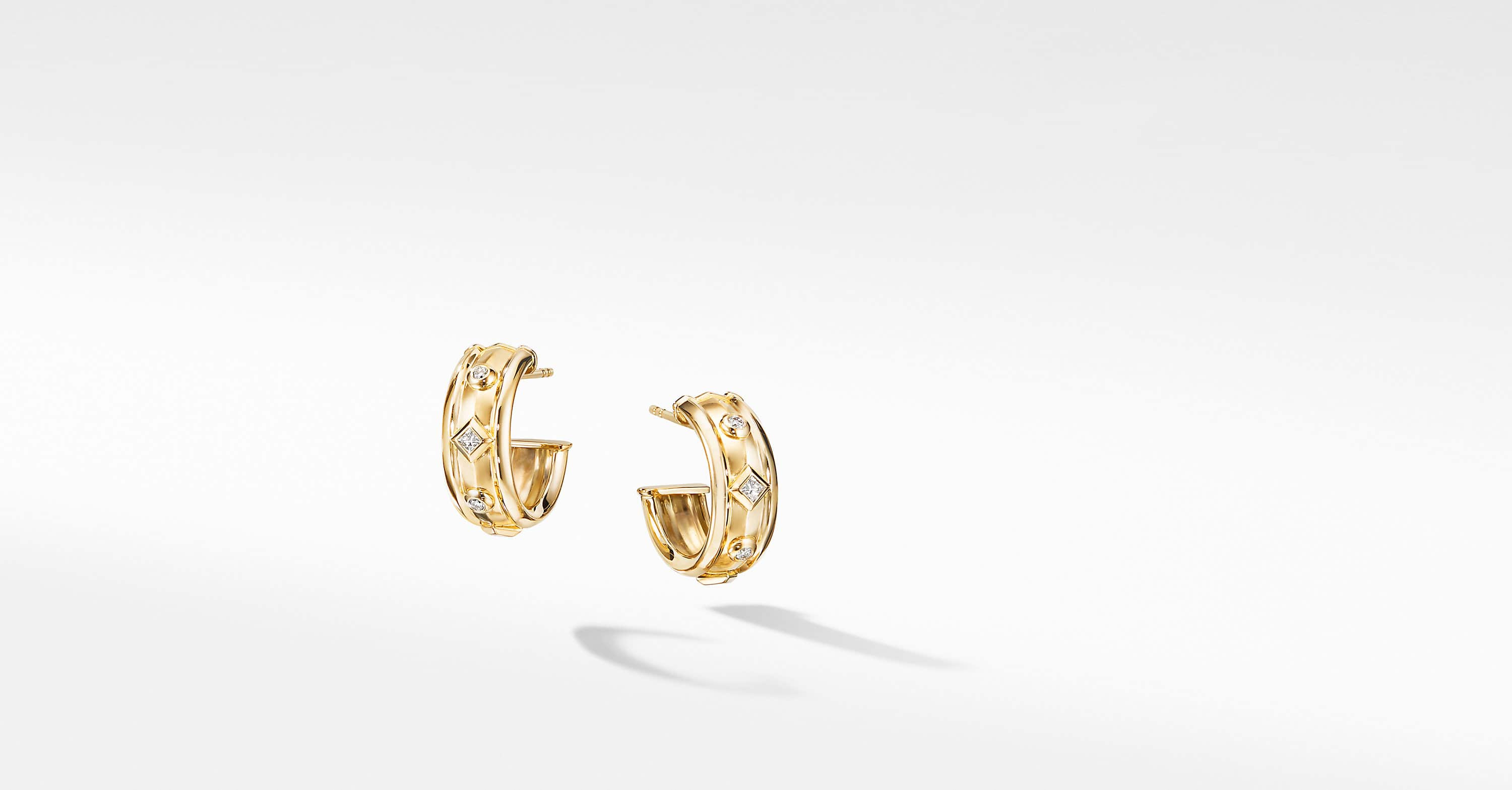 Modern Renaissance Hoop Earrings in 18K Yellow Gold with Diamonds