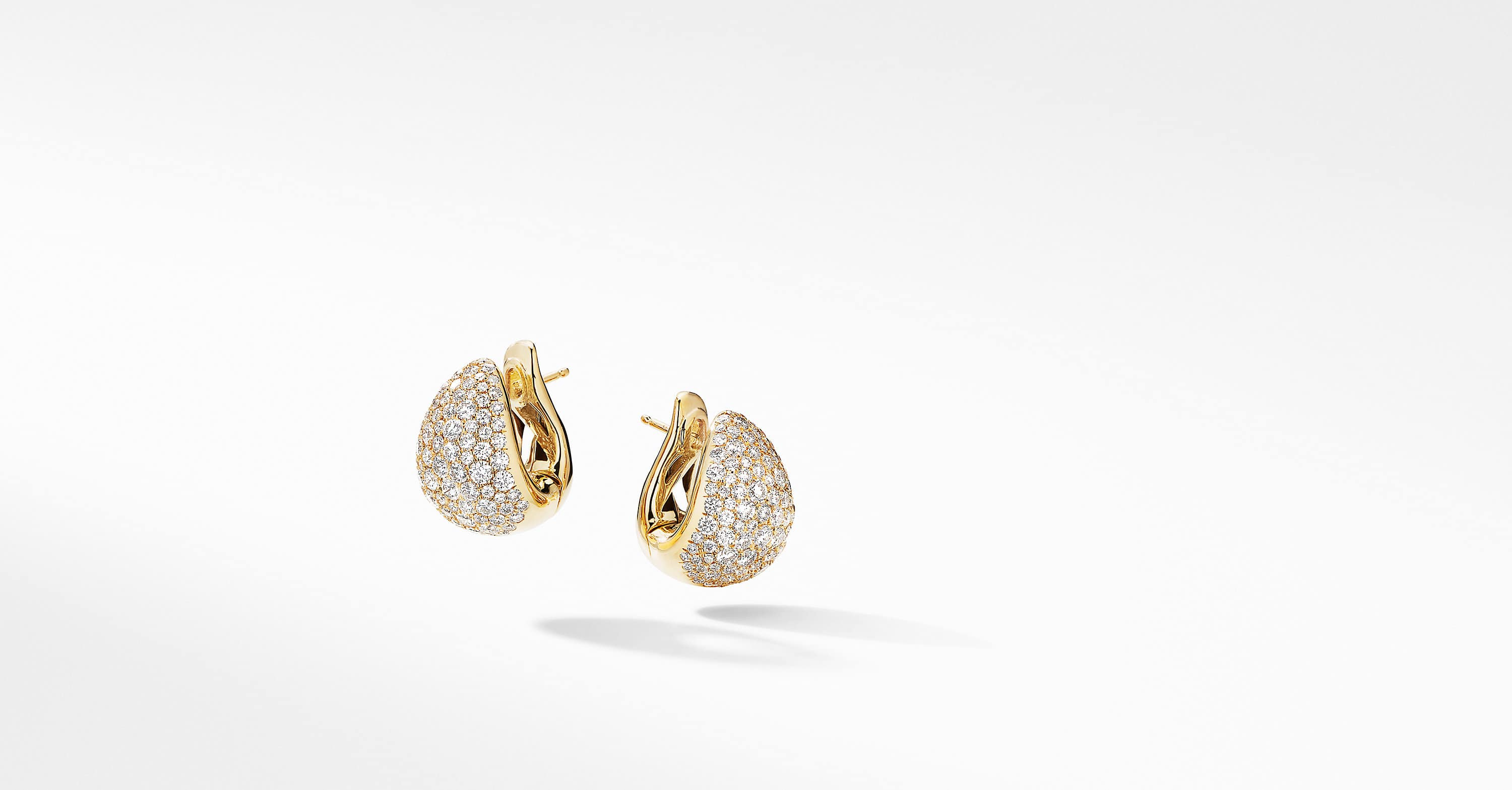 Pear Huggie Hoop Earrings in 18K Yellow Gold with Pavé