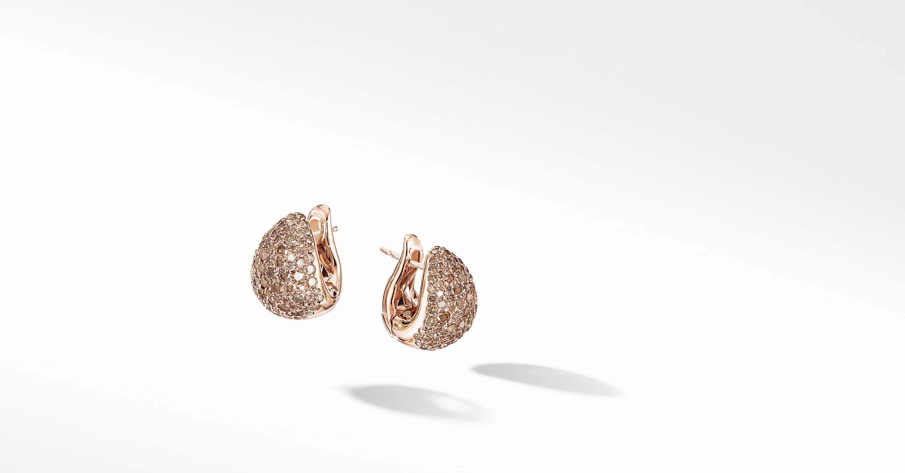 Pear Huggie Hoop Earrings in 18K Rose Gold with Pavé