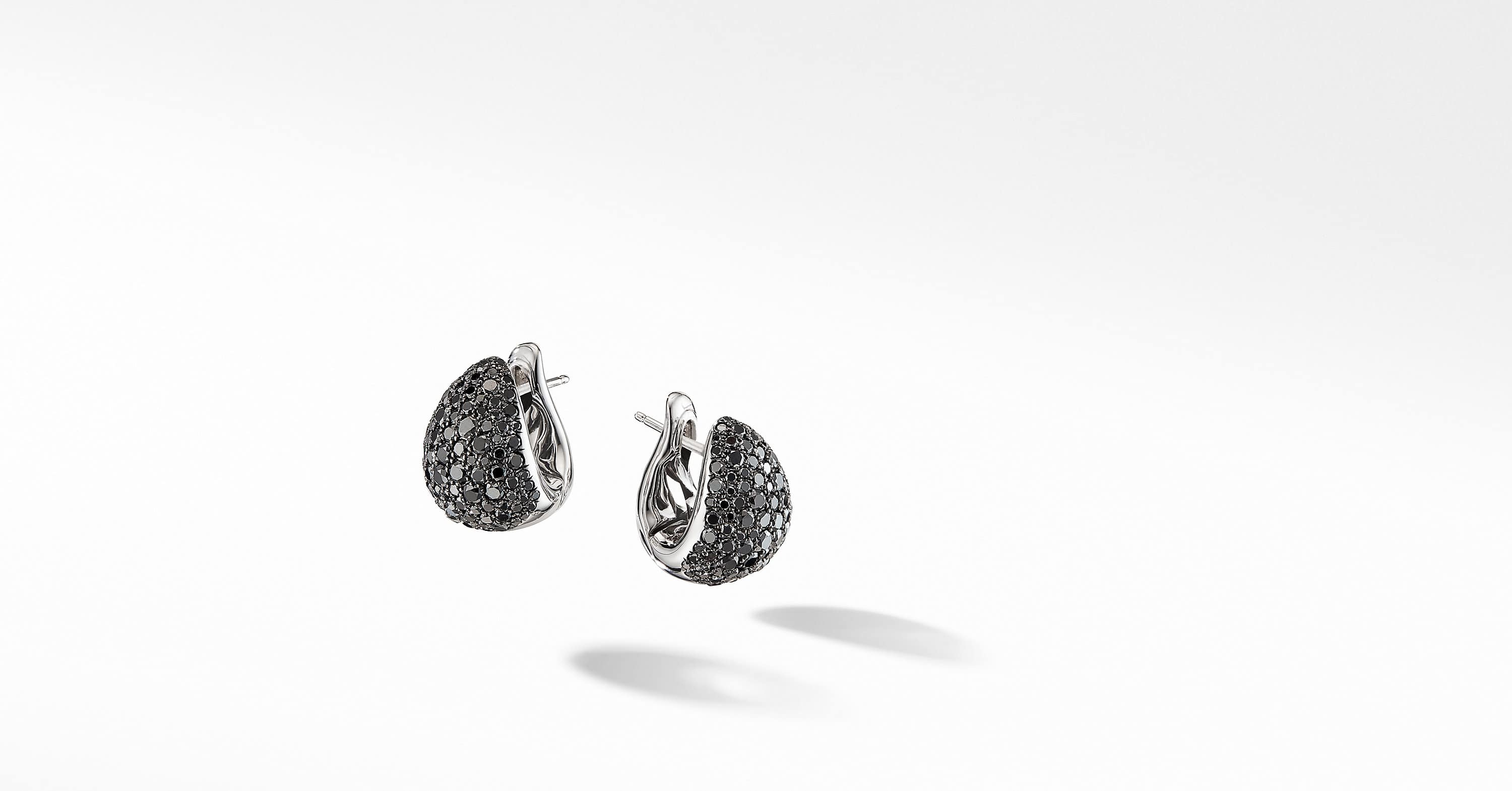 Pear Huggie Hoop Earrings in 18K White Gold with Pavé
