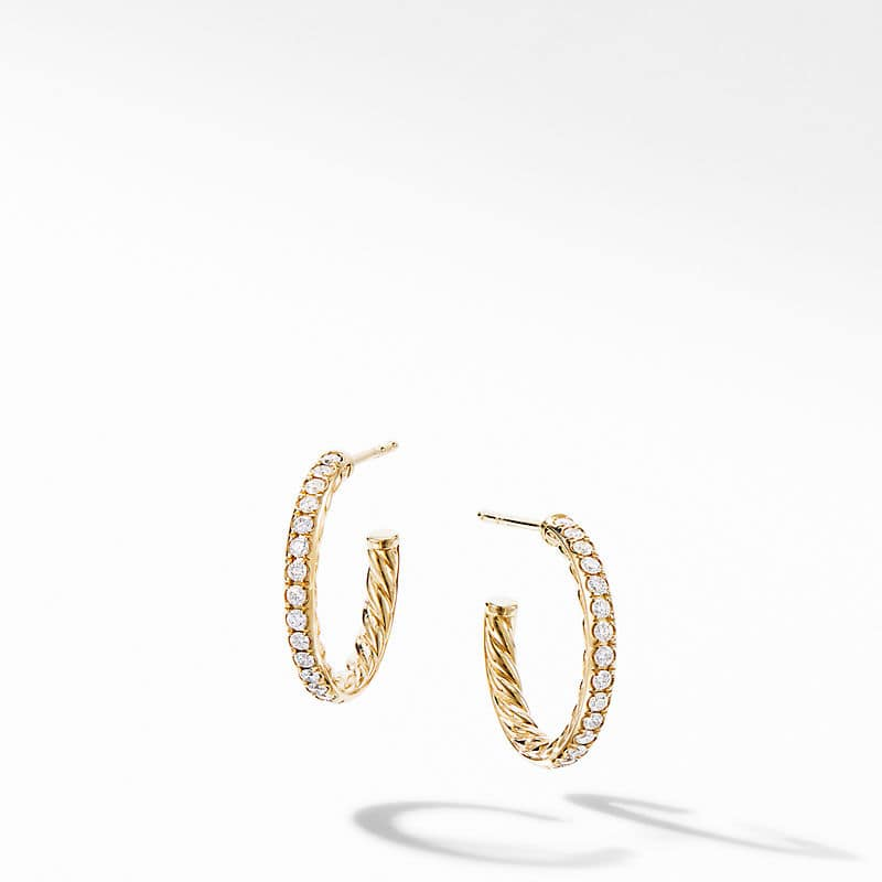 Extra-Small Hoop Earrings in 18K Yellow Gold with Pavé