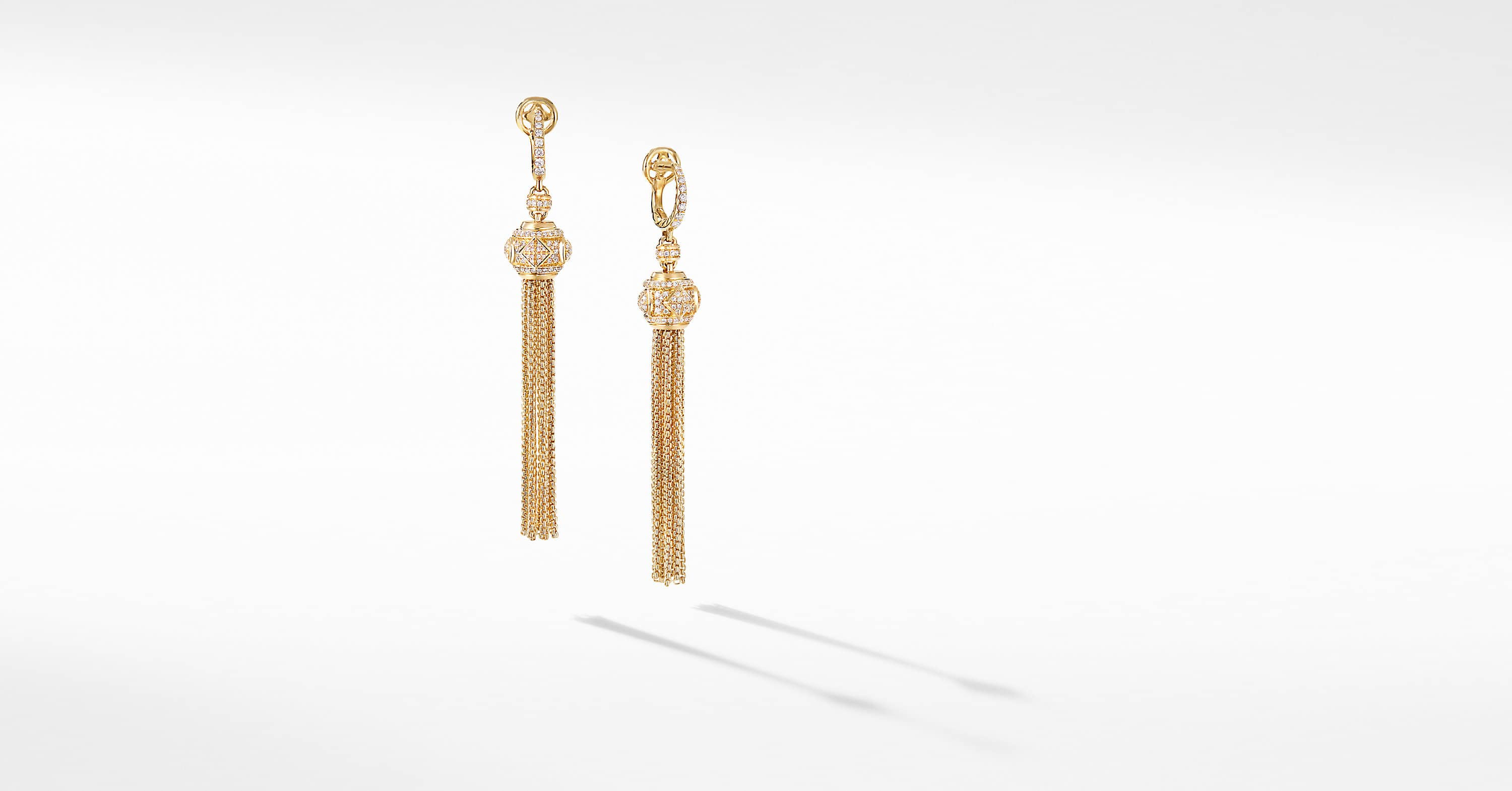 Renaissance Tassel Earrings in 18K Yellow Gold with Full Pavé