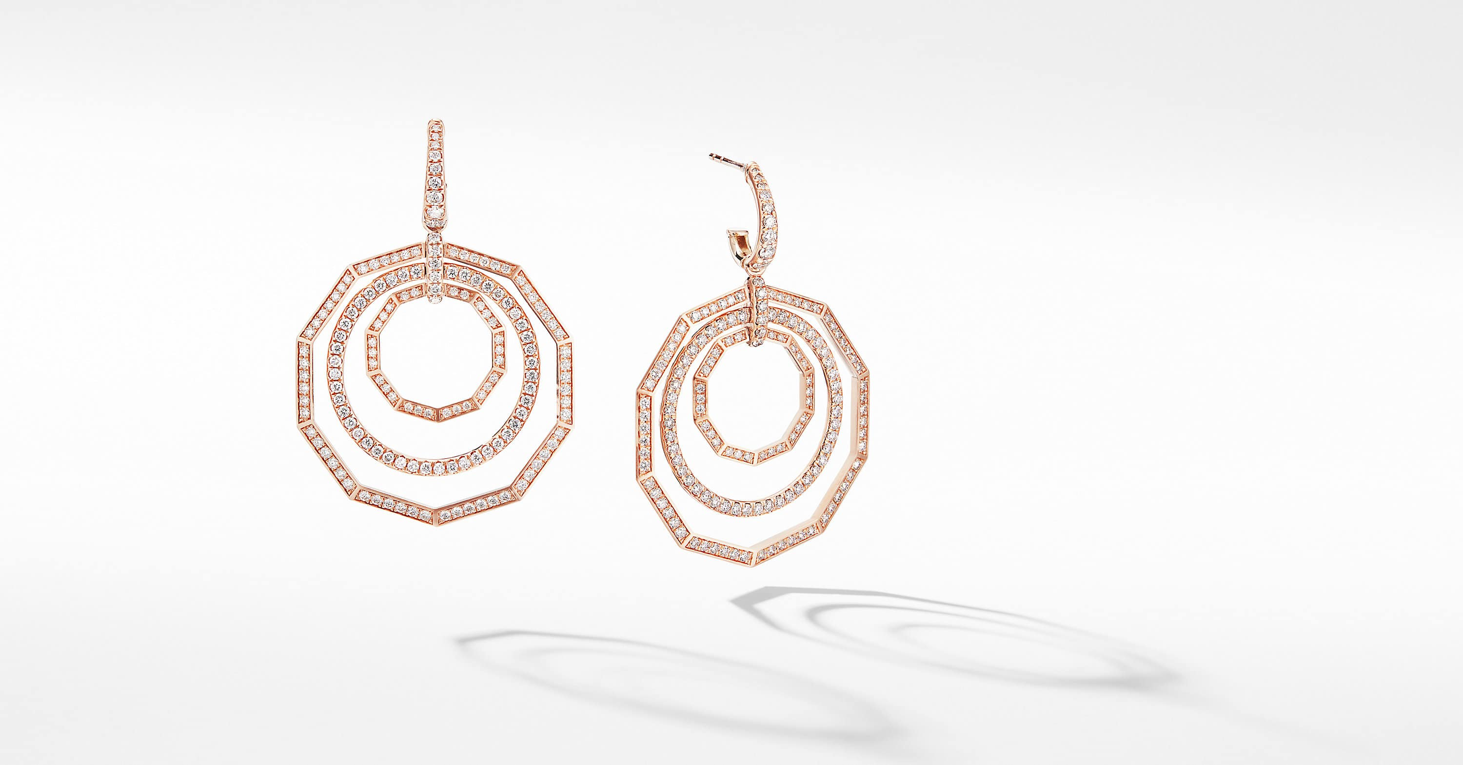 Stax Drop Earrings in 18K Rose Gold with Full Pavé