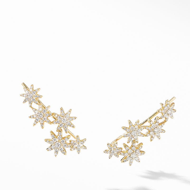Starburst Climber Earrings in 18K Yellow Gold with Pavé