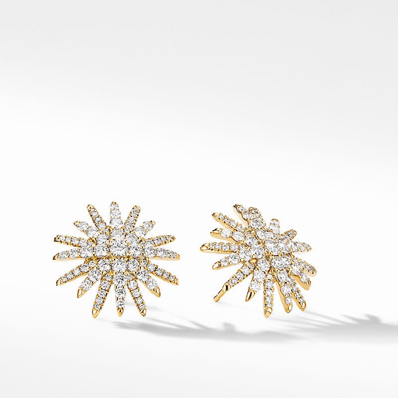 Starburst Stud Earrings in 18K Yellow Gold with Pavé