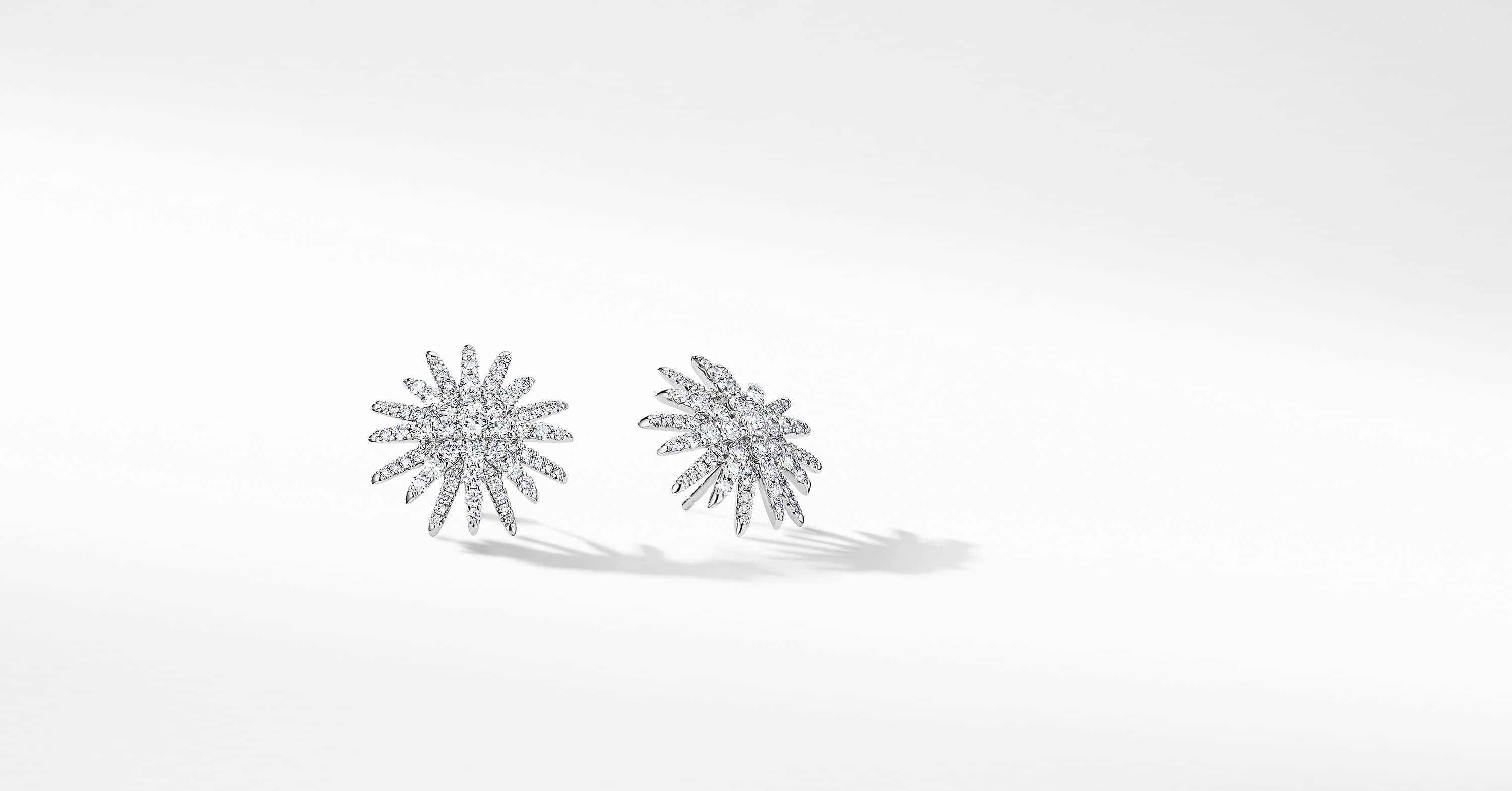 Starburst Stud Earrings in 18K White Gold with Pavé