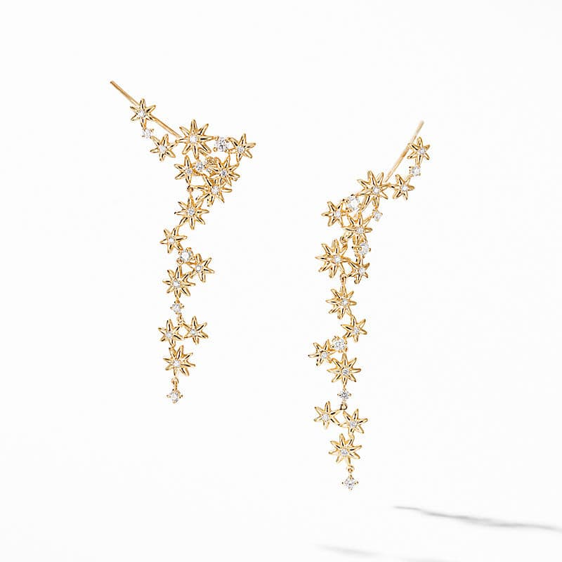 Starburst Cluster Earrings in 18K Yellow Gold with Pavé