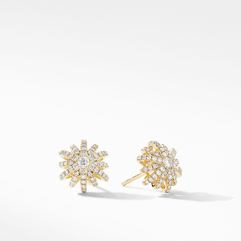 Starburst Small Stud Earrings in 18K Yellow Gold with Pavé