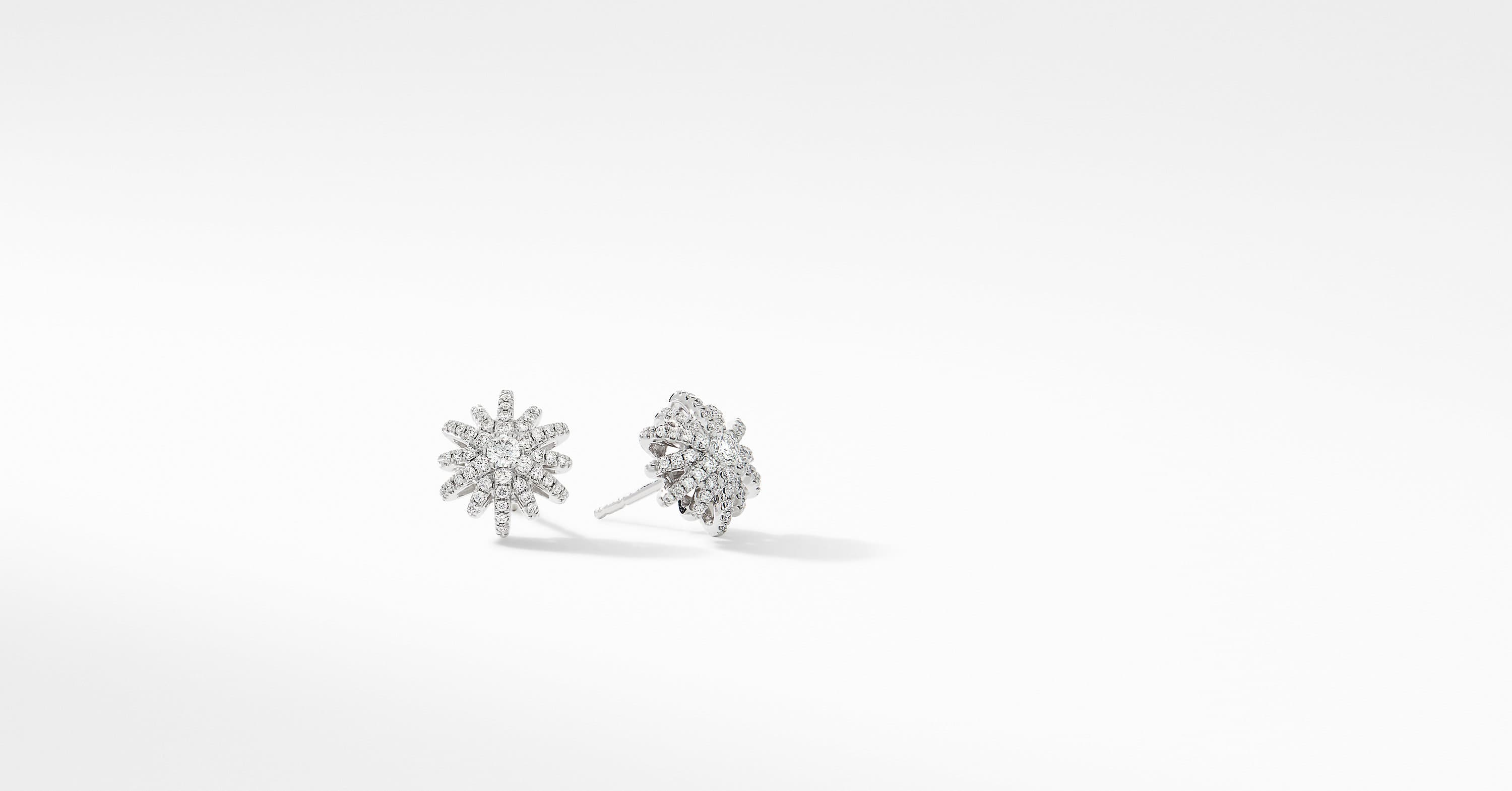 Starburst Small Stud Earrings in 18K White Gold with Pavé