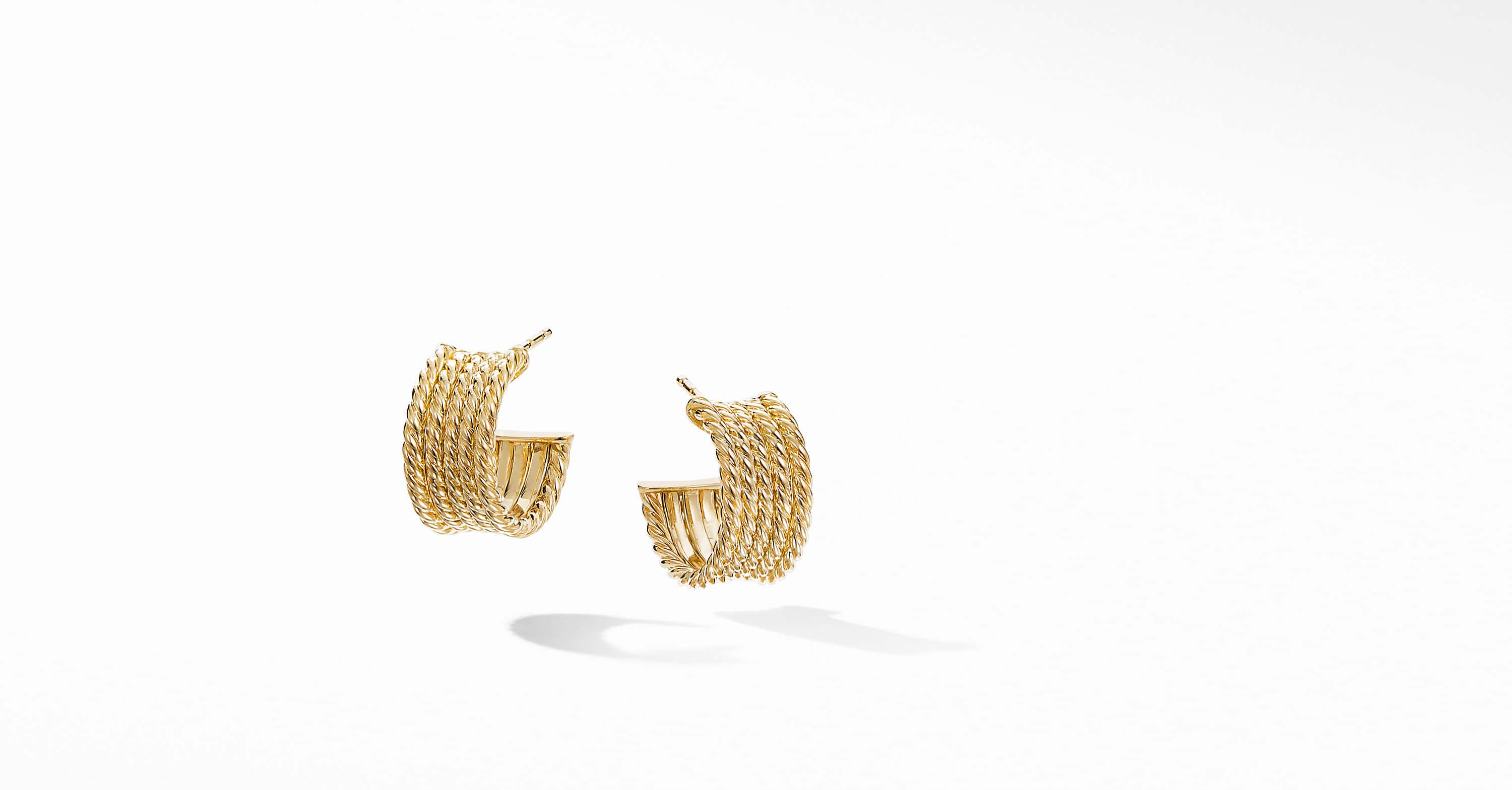 DY Origami Cable Huggie Hoops in 18K Yellow Gold