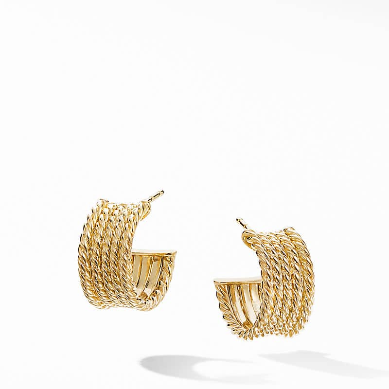 DY Origami Cable Huggie Hoops in 18K Yellow