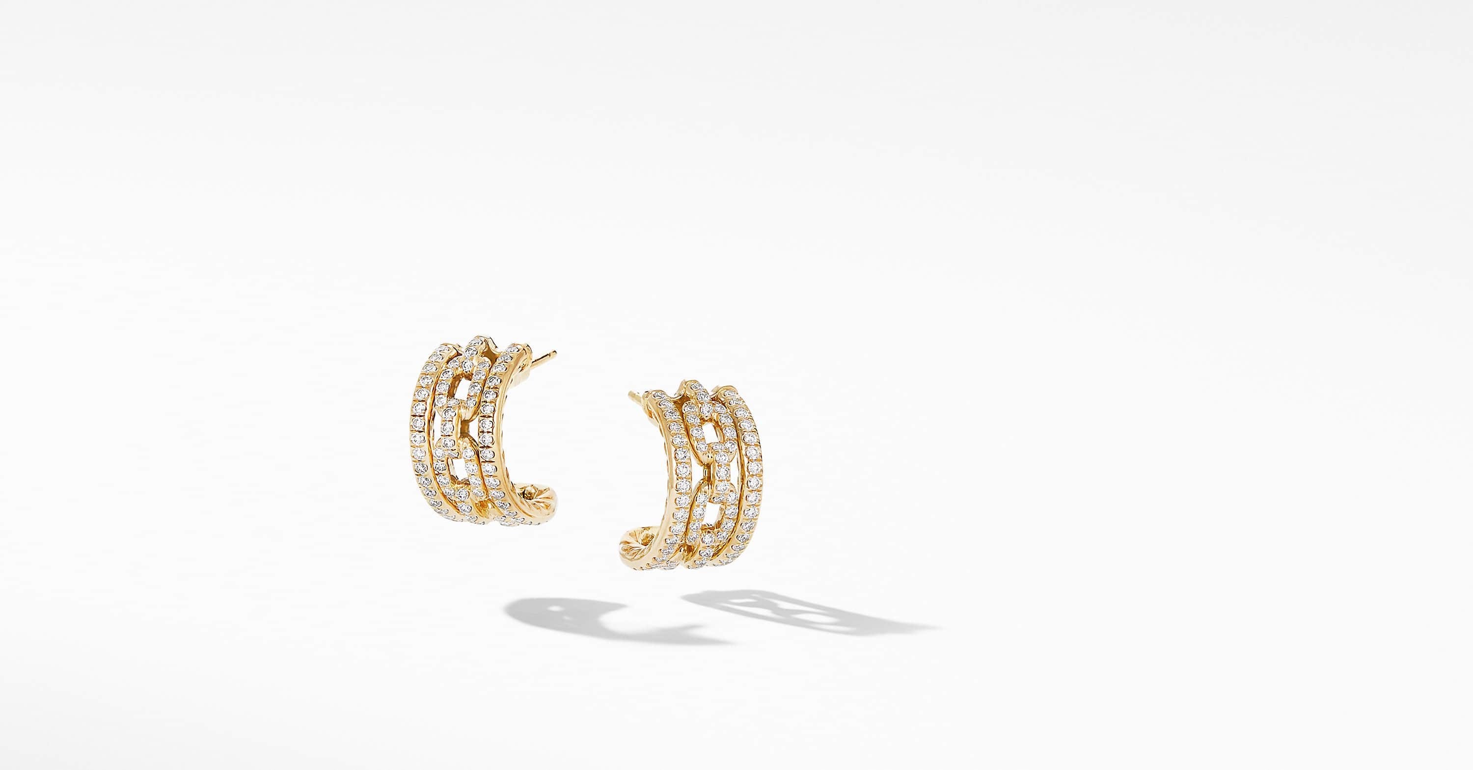 Stax Chain Link and Pavé Huggie Hoops in 18K Yellow Gold
