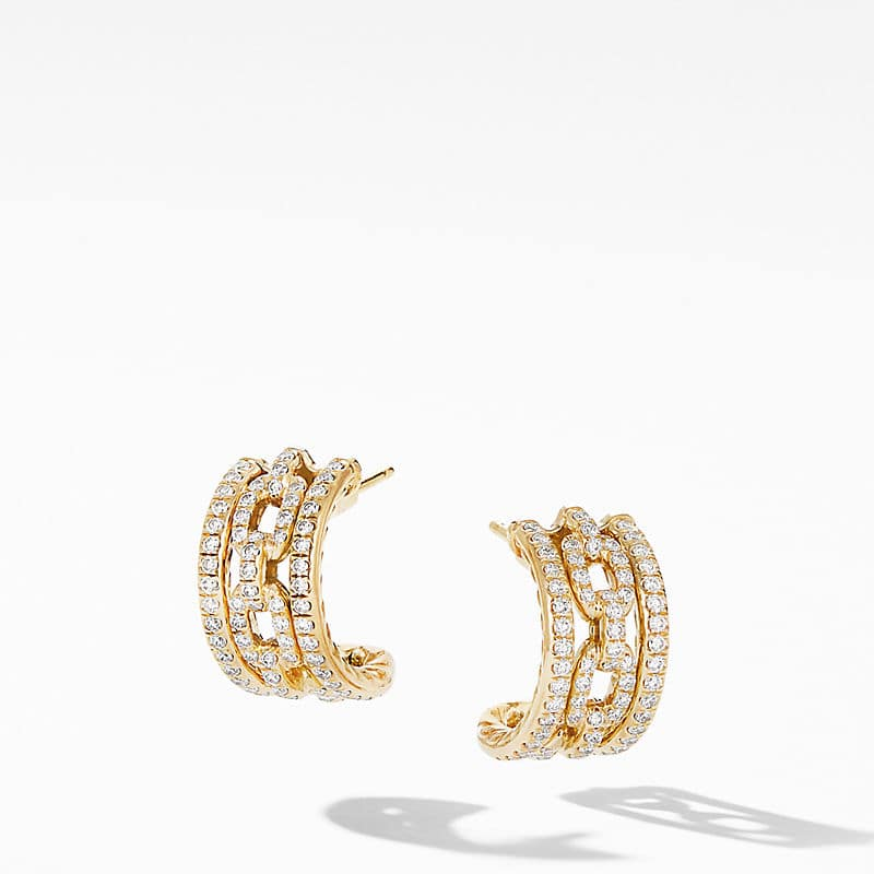 Stax Chain Link and Pavé Huggie Hoops in