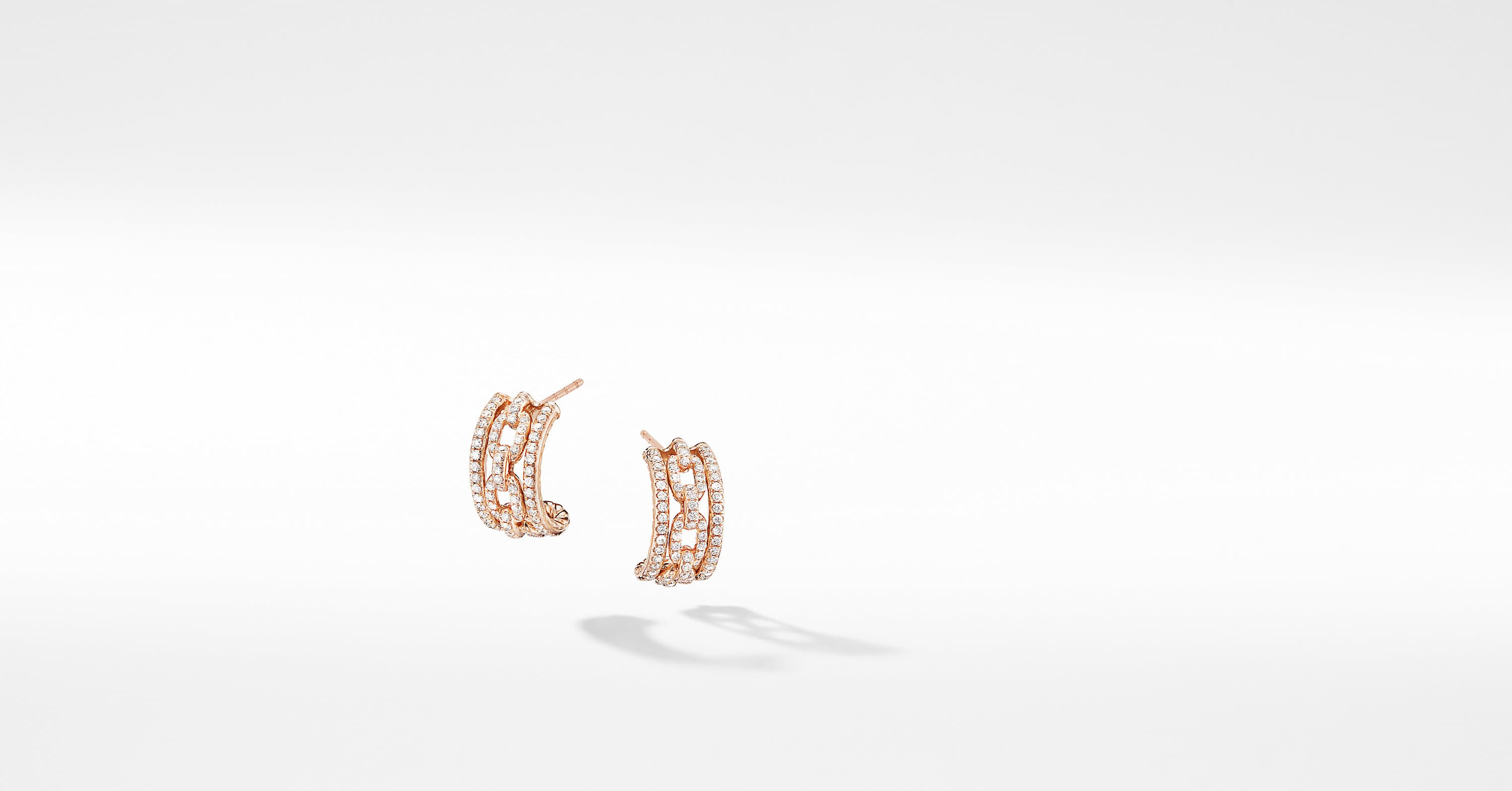Stax Pavé Chain Link Huggie Hoops in 18K Rose Gold