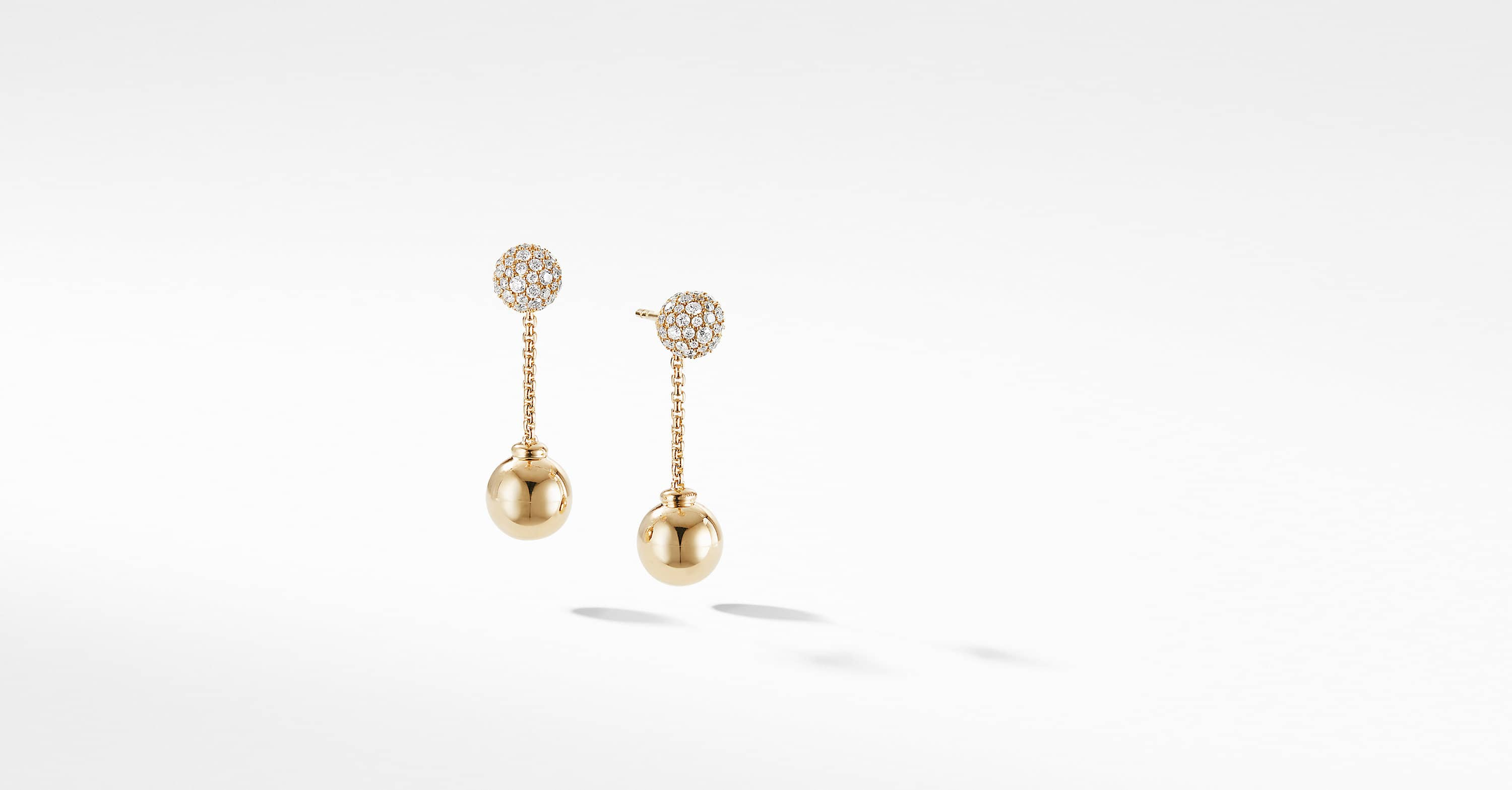 Solari Chain Drop Earring in 18K Yellow Gold with Diamonds