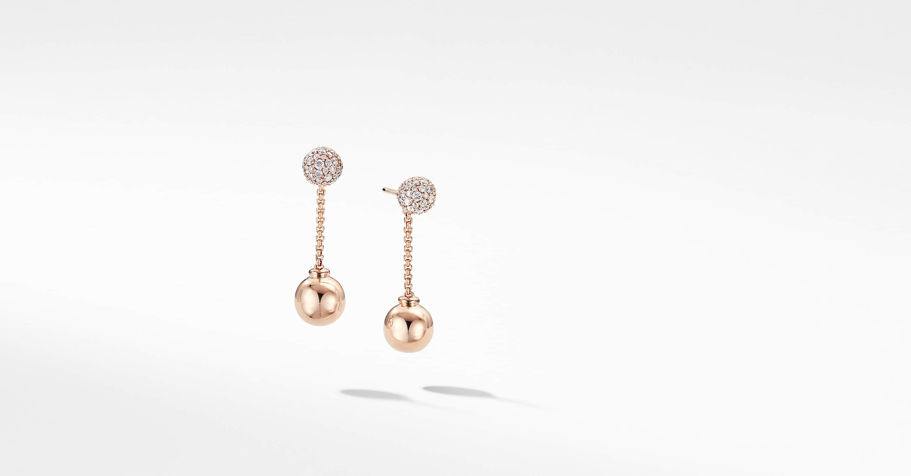 Solari Chain Drop Earring in 18K Rose Gold with Diamonds