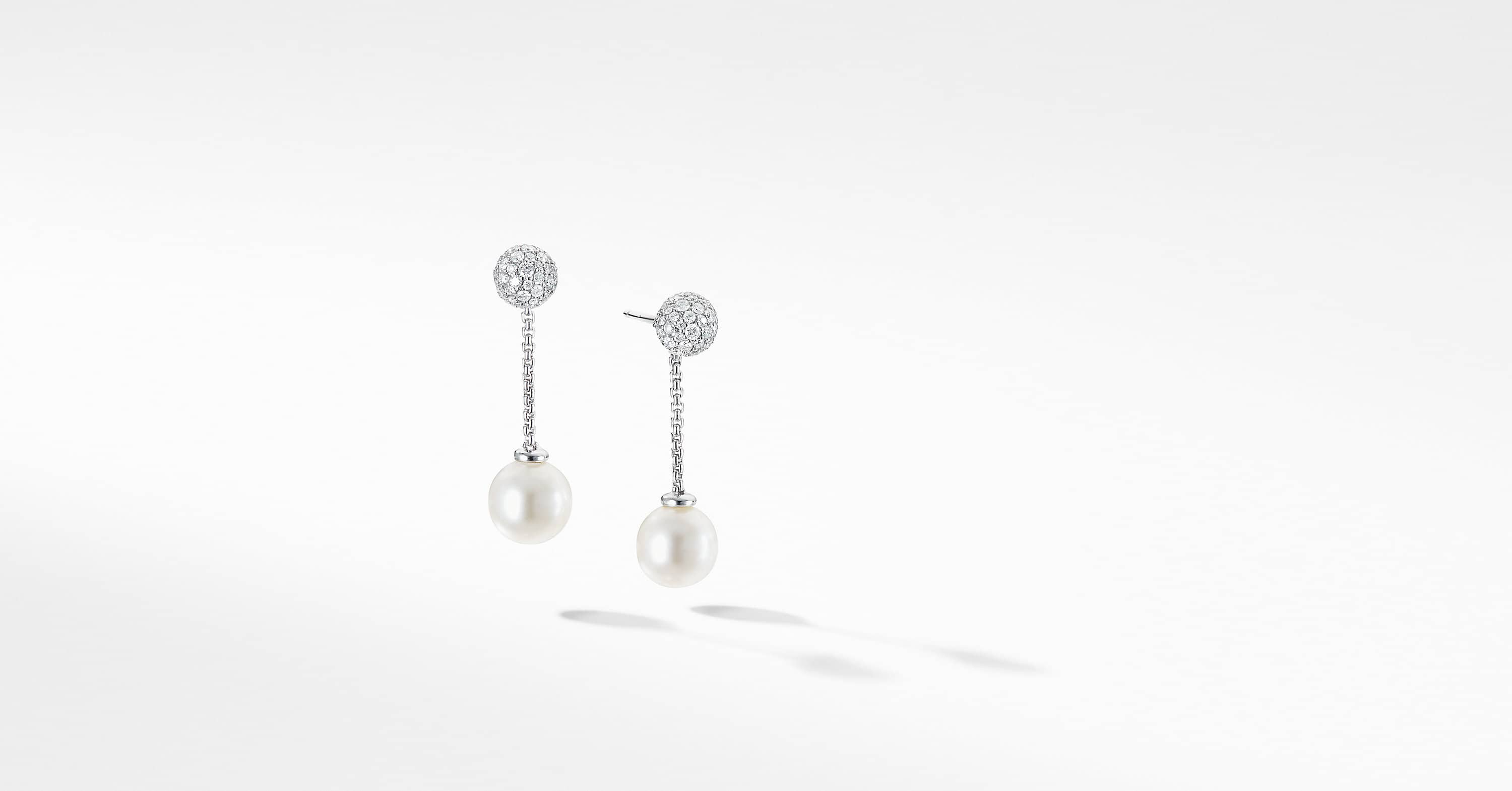 Solari Chain Drop Earring in 18K White Gold with Diamonds