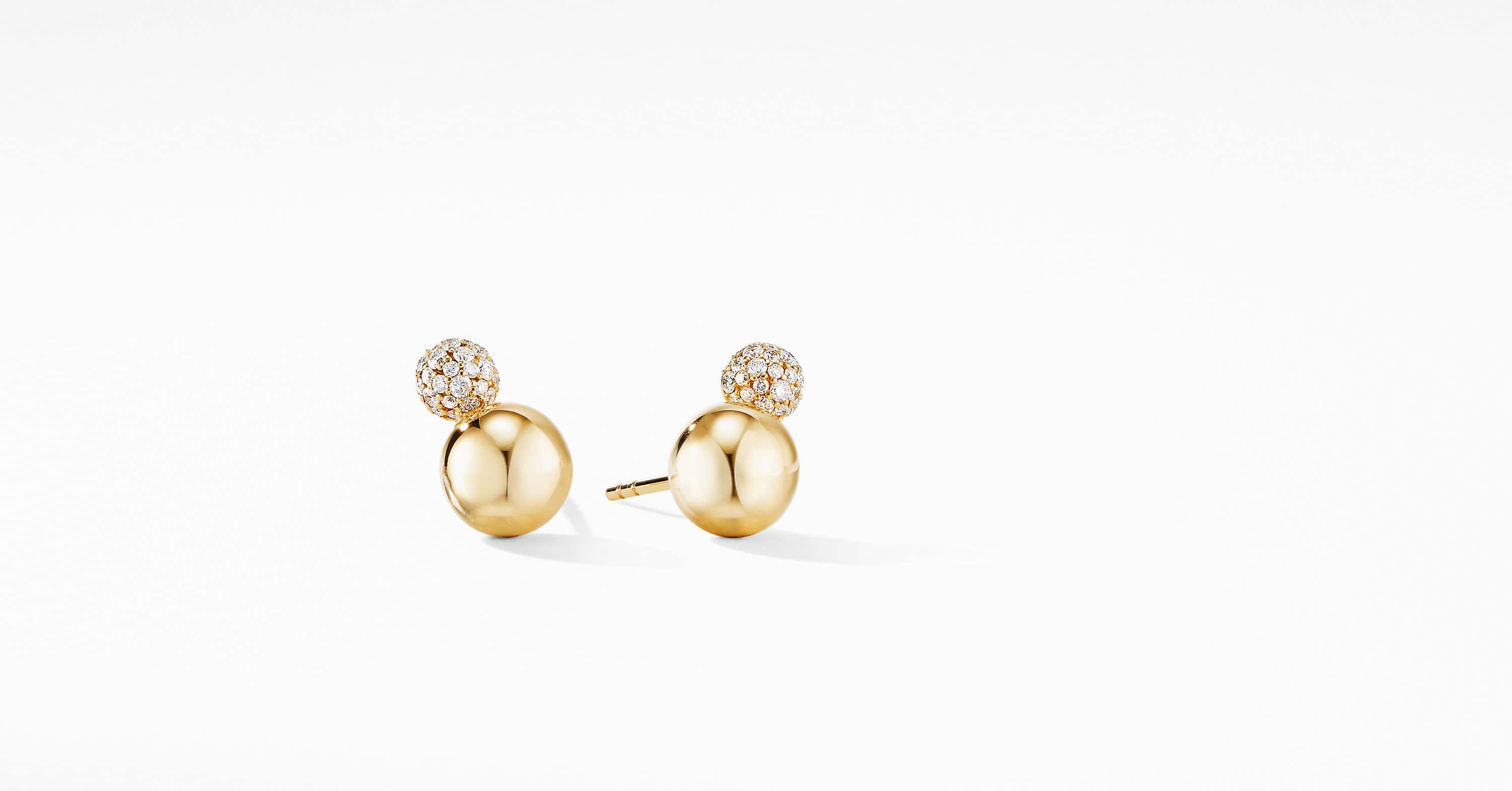 Solari Stud Earrings in 18K Yellow Gold with Diamonds