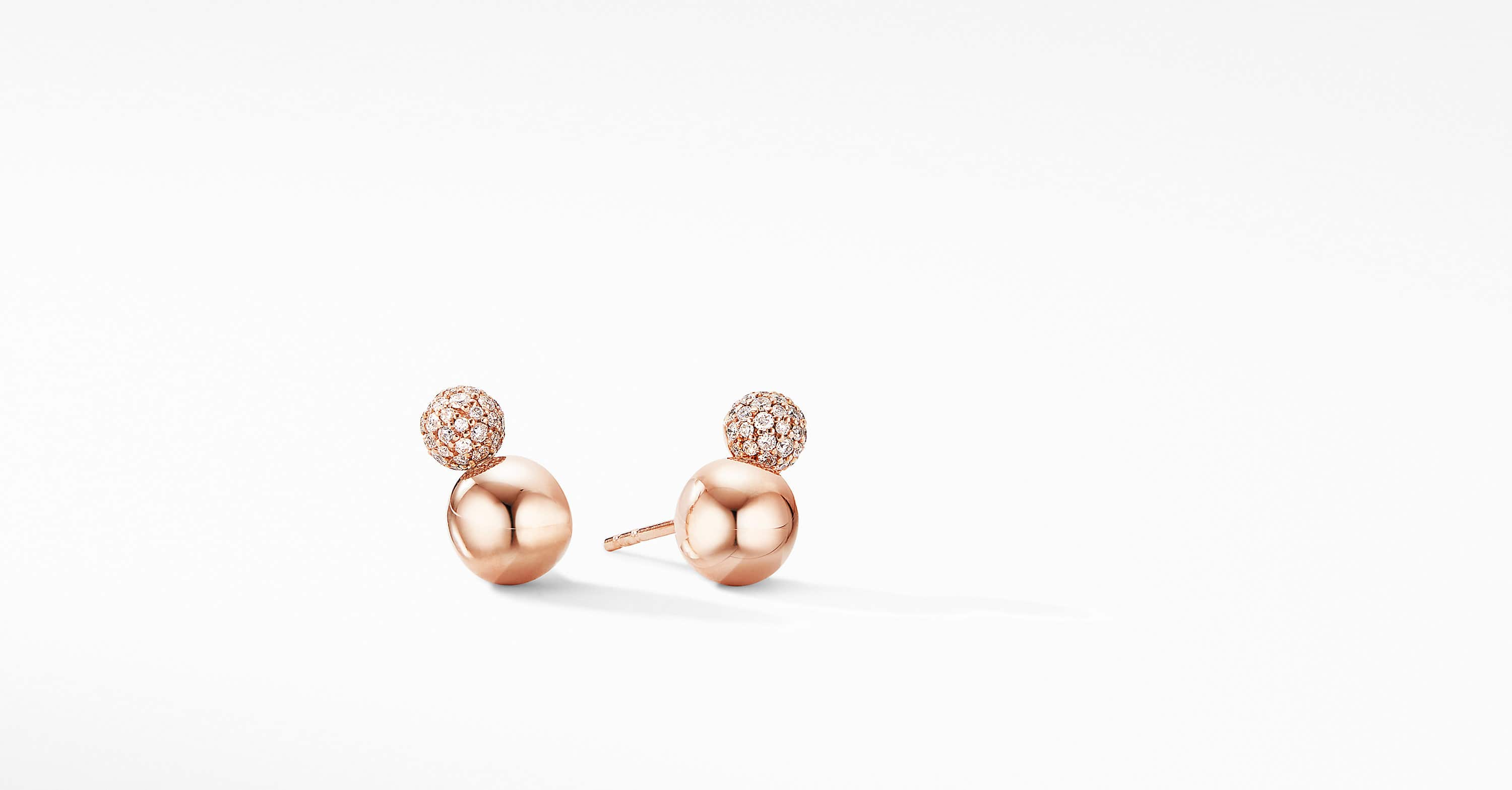 Solari Stud Earrings in 18K Rose Gold with Diamonds