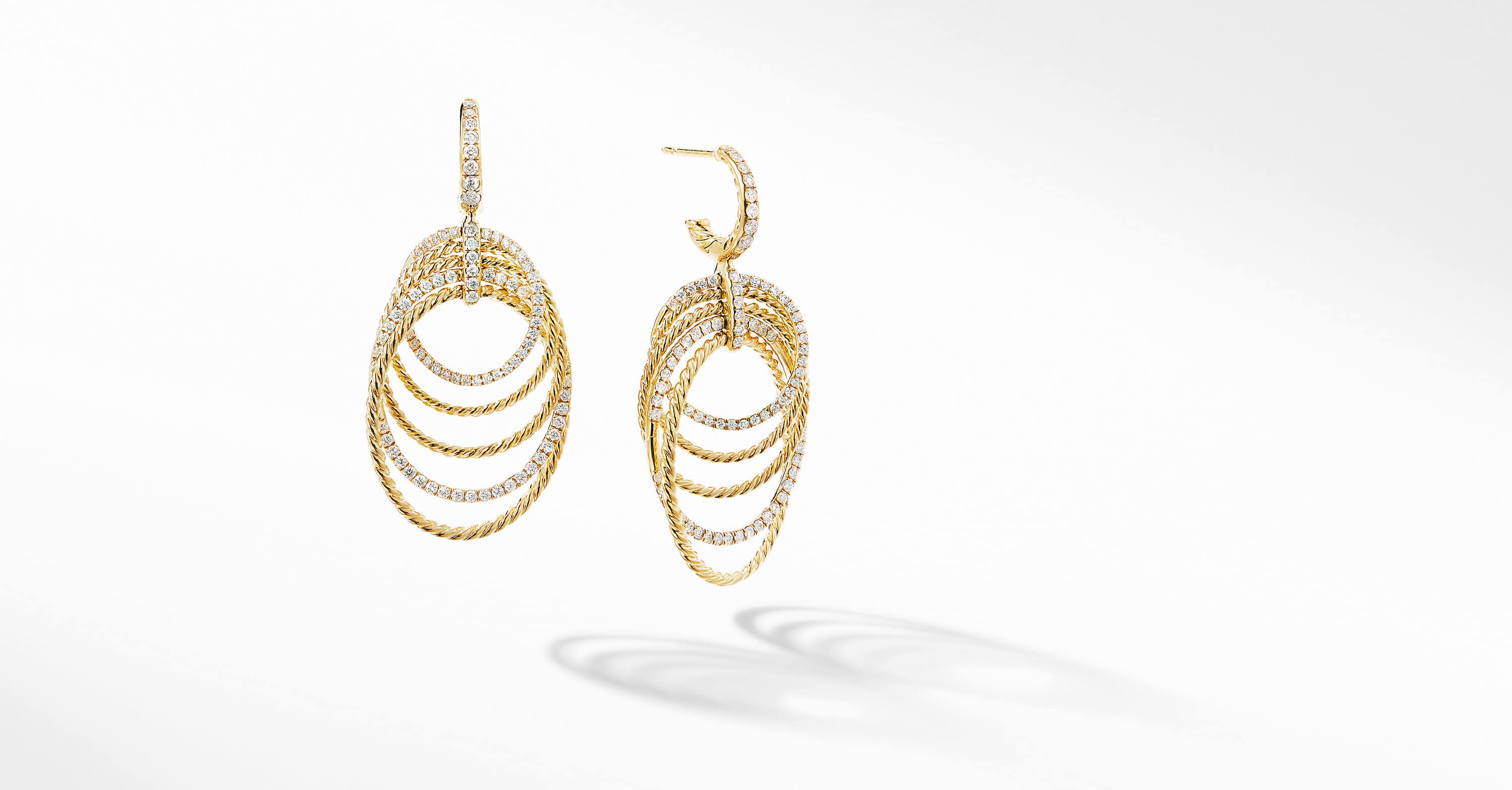 DY Origami Drop Earrings in 18K Yellow Gold with Diamonds