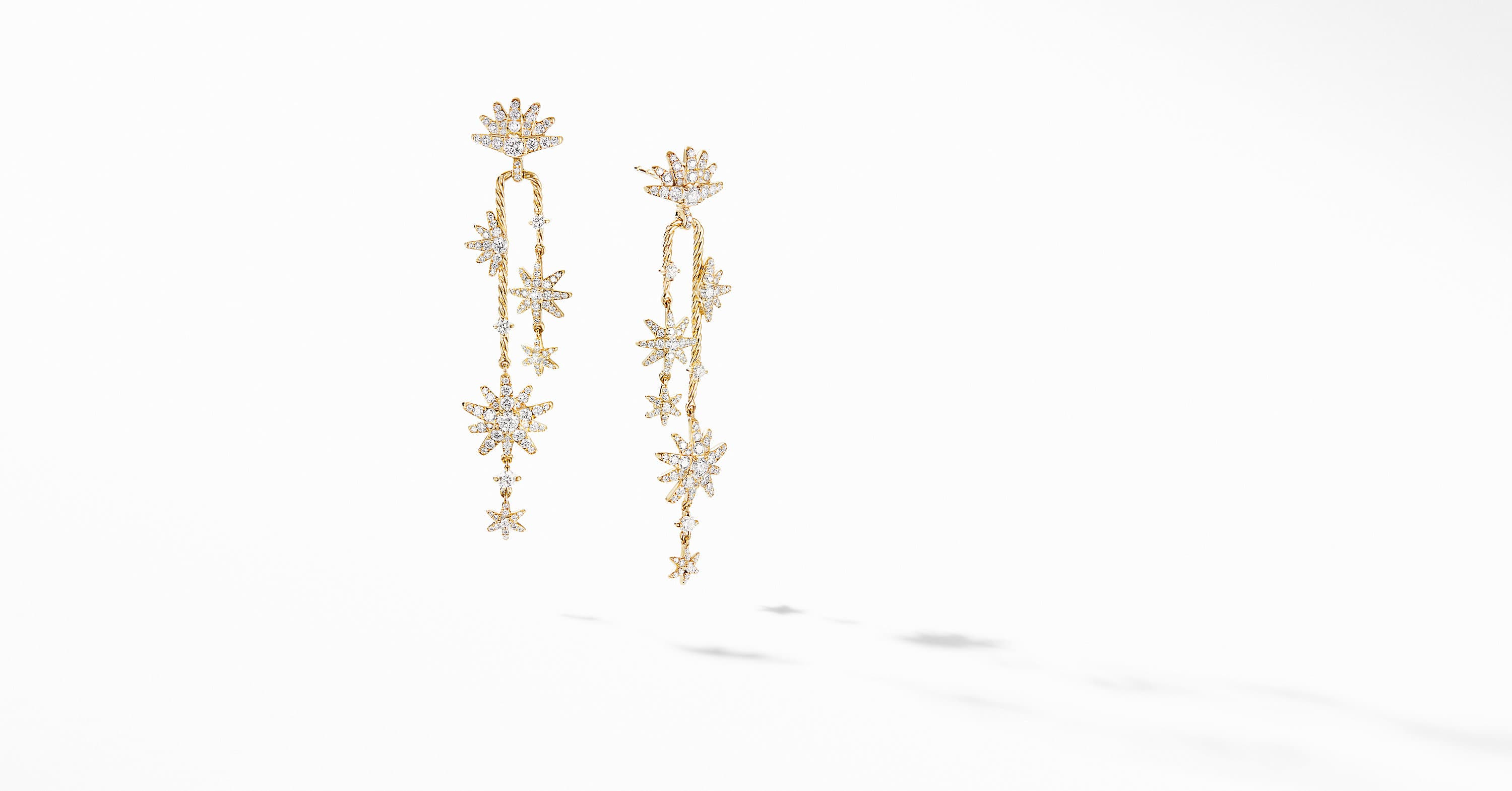 Starburst Cascade Earrings in 18K Yellow Gold with Pavé