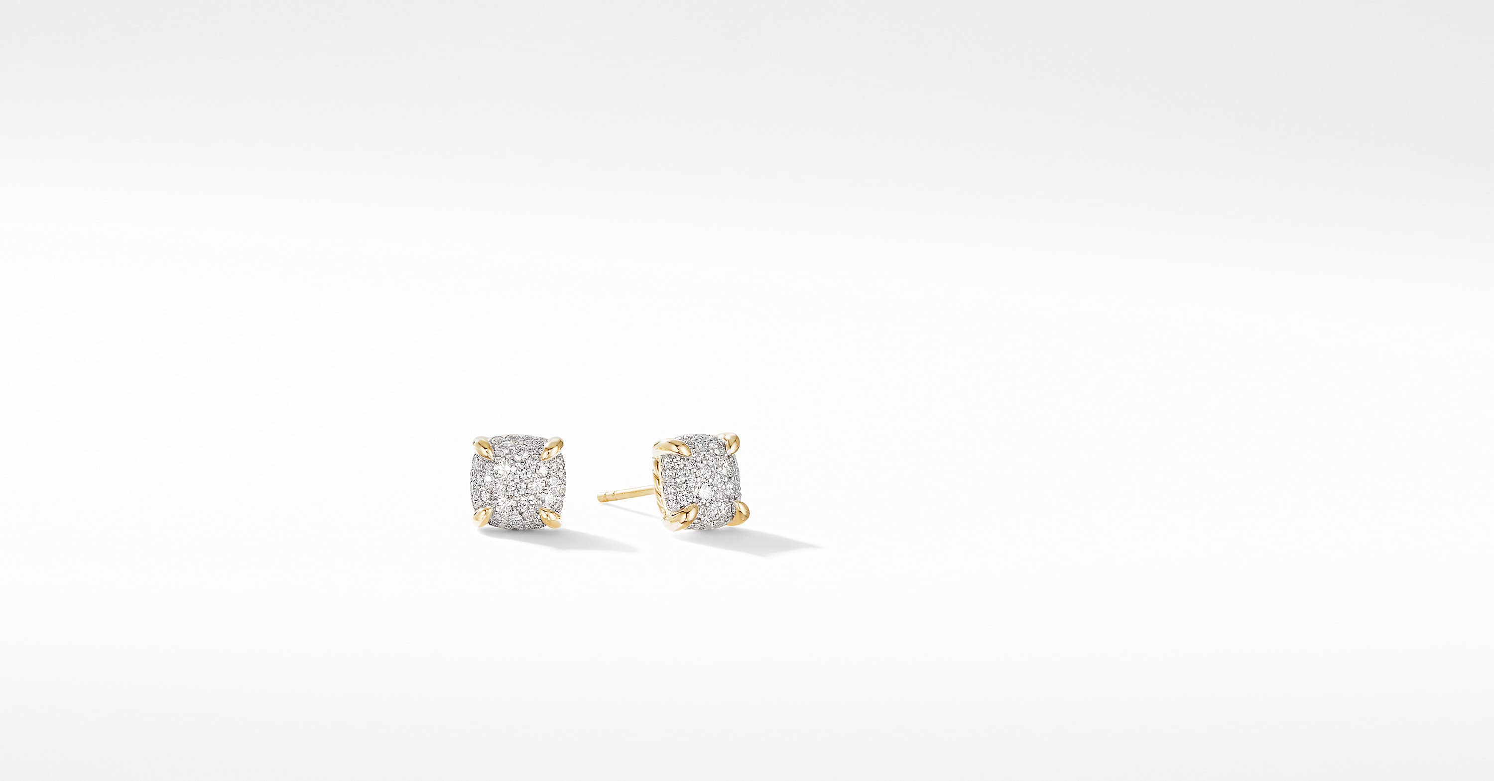 Chatelaine Stud Earrings in 18K Yellow Gold with Full Pavé, 8mm