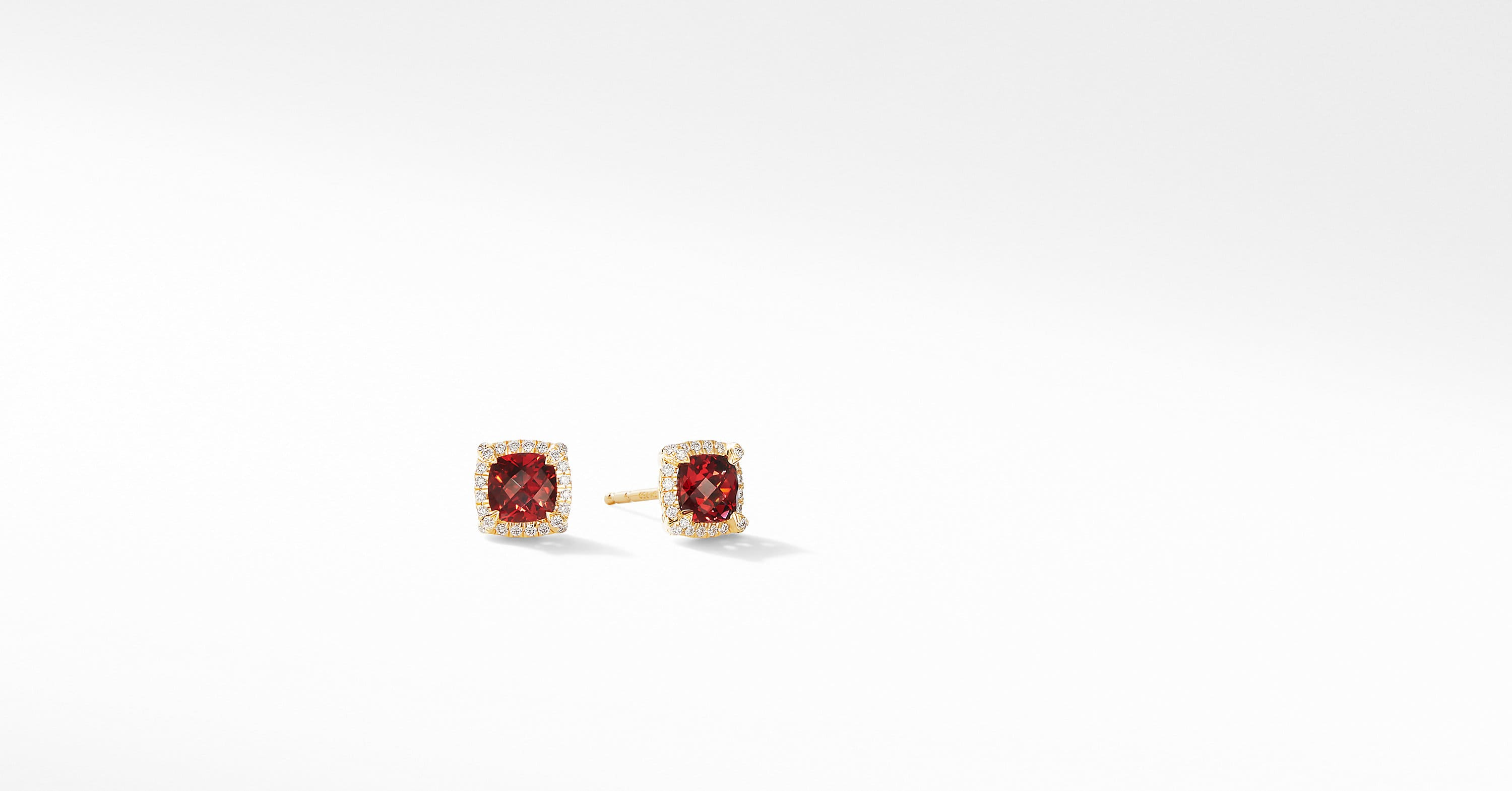 Petite Chatelaine Pavé Bezel Stud Earrings in 18K Yellow Gold, 5mm