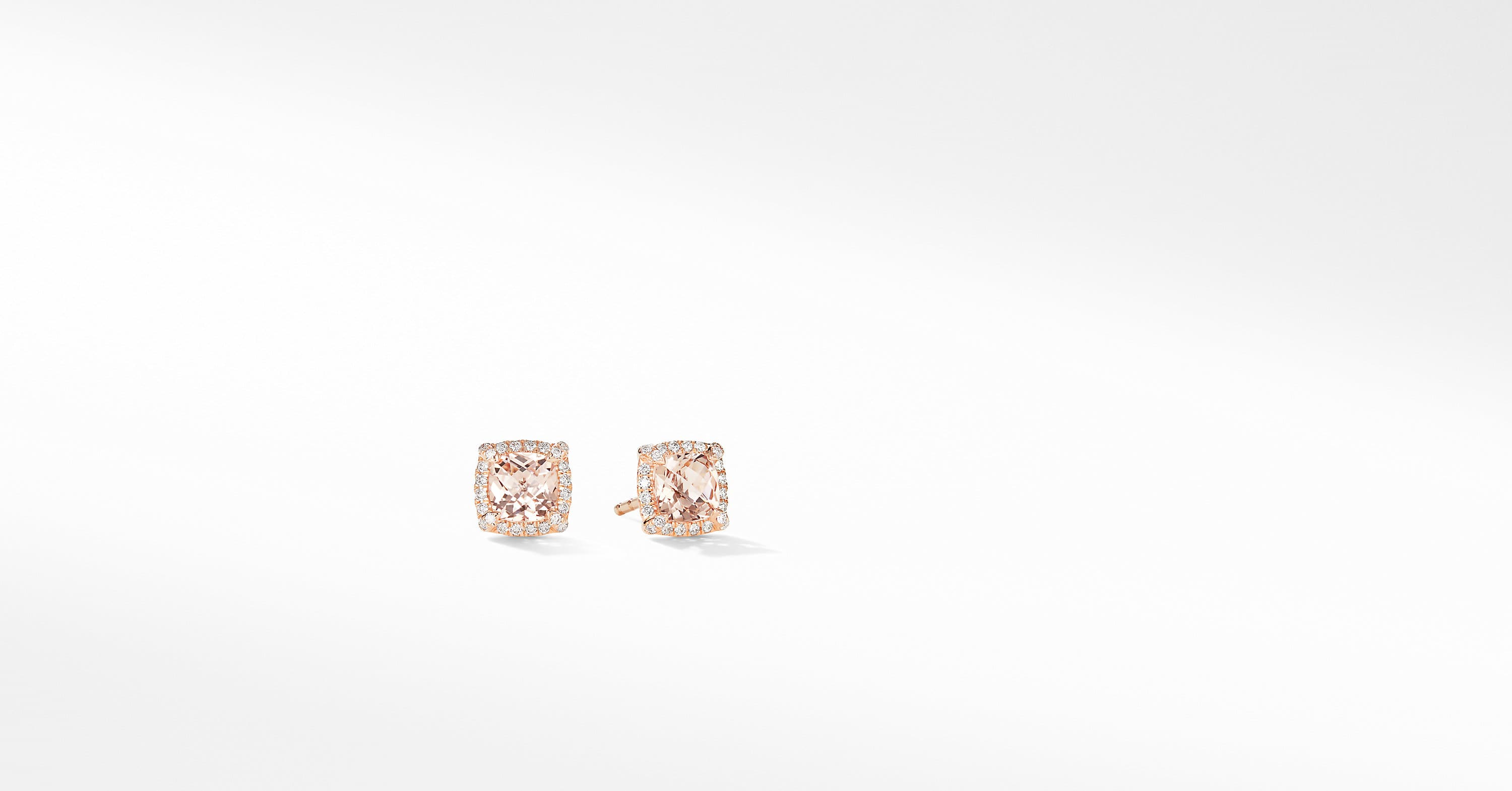 Petite Chatelaine Pavé Bezel Stud Earrings in 18K Rose Gold, 5m