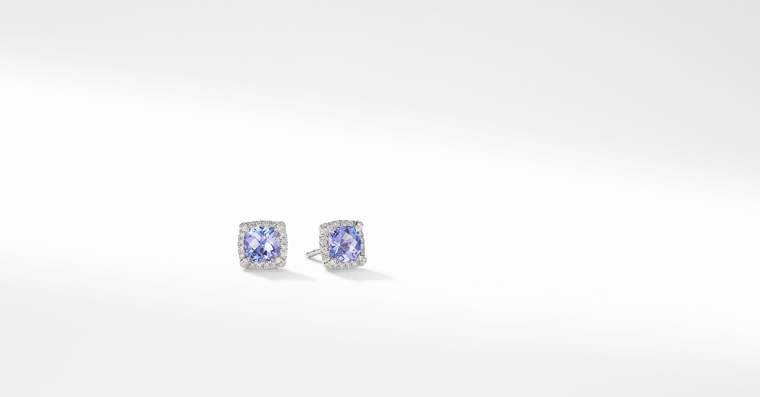 Petite Chatelaine Pavé Bezel Stud Earrings in 18K White Gold, 5mm