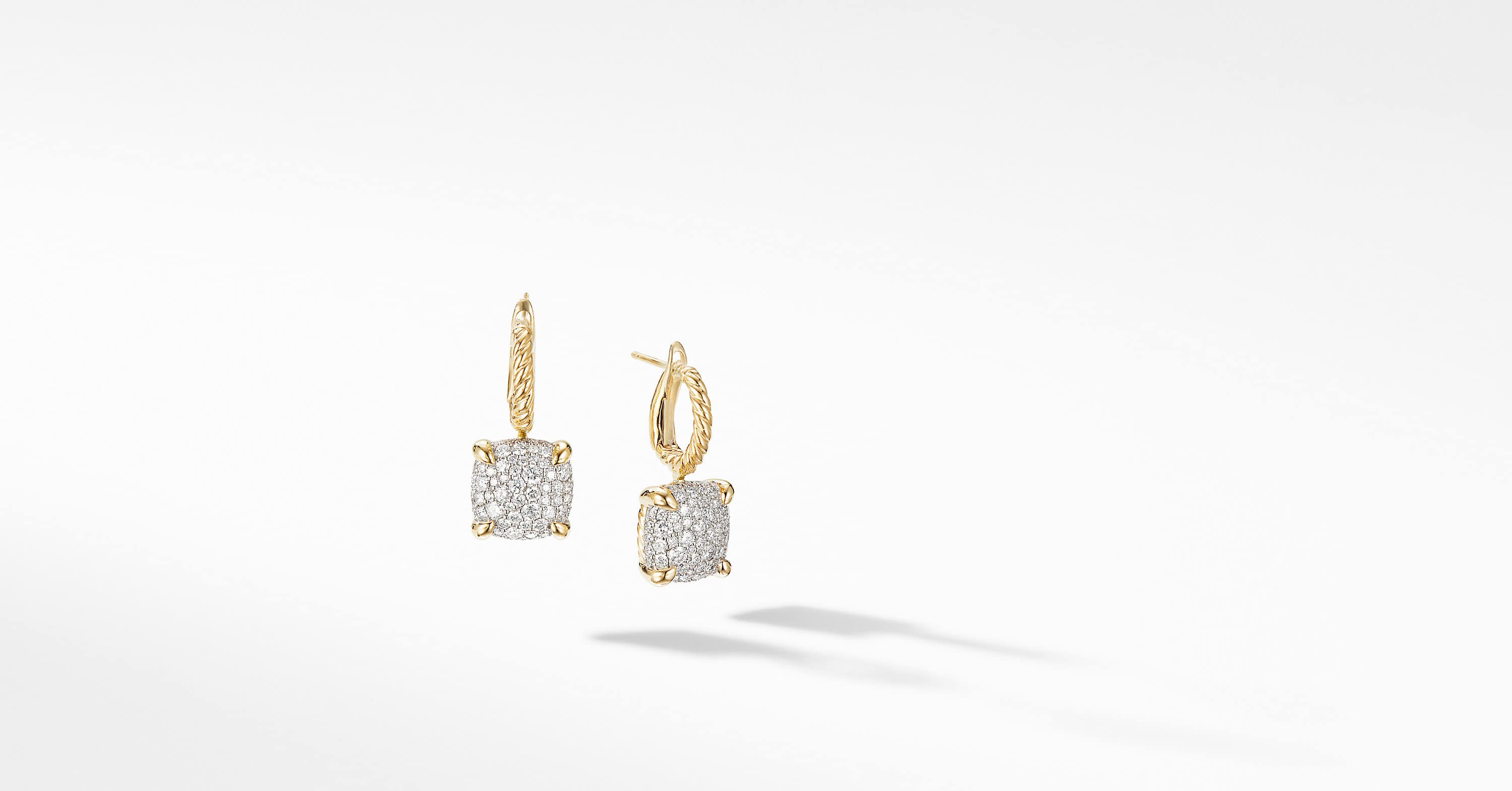 Chatelaine Drop Earrings in 18K Yellow Gold with Full Pavé