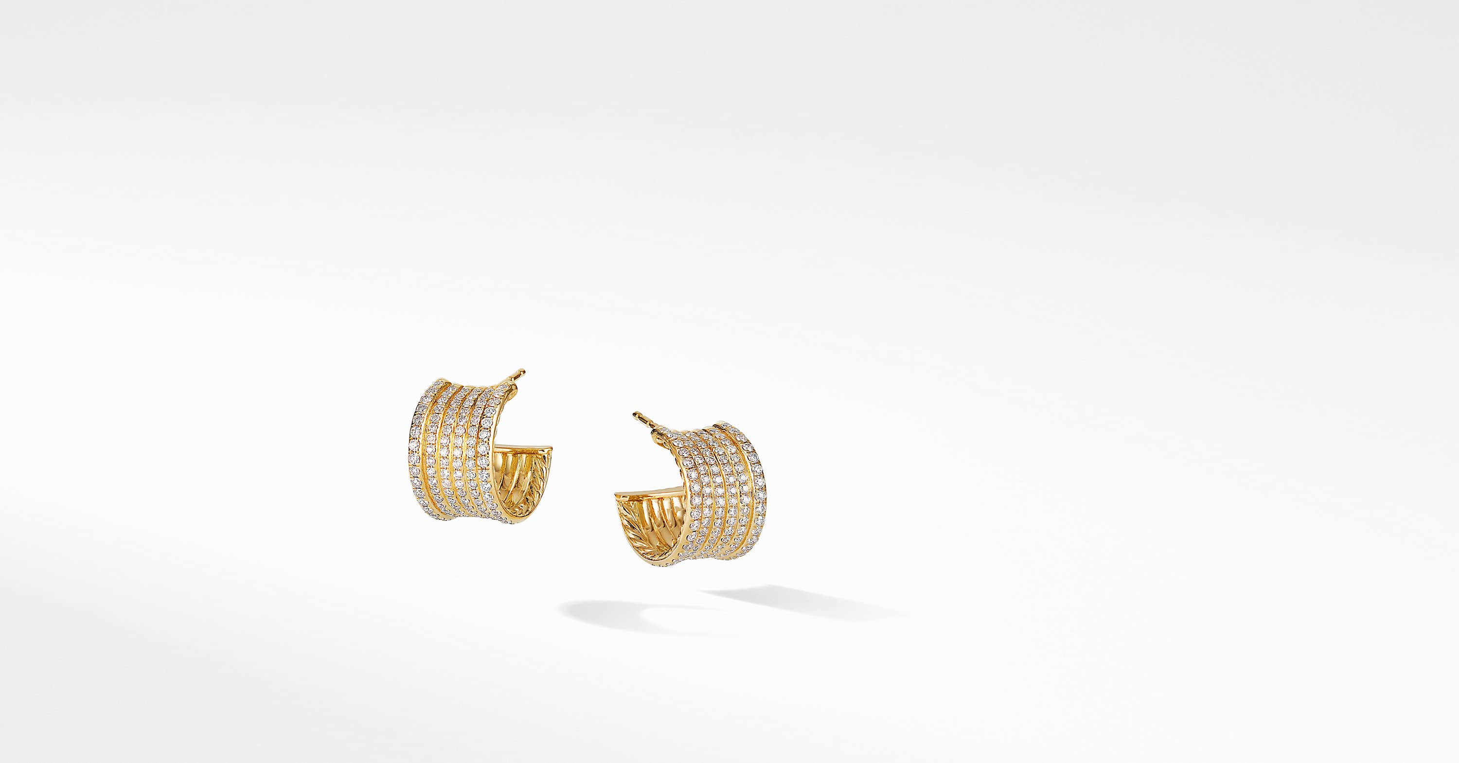 DY Origami Cable Huggie Hoops in 18K Yellow Gold and Full Pavé