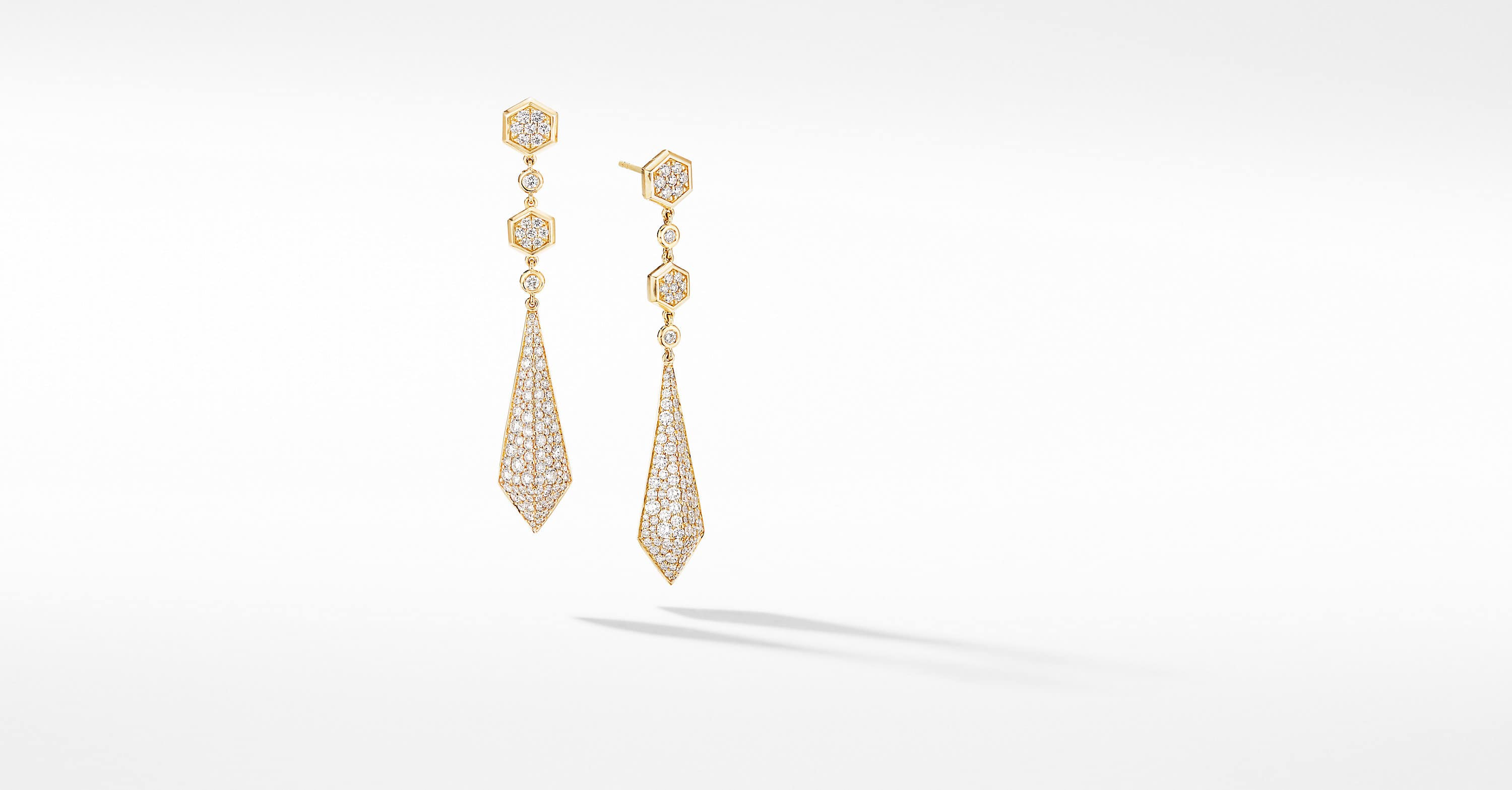 Renaissance Drop Earrings in 18K Yellow Gold with Full Pavé